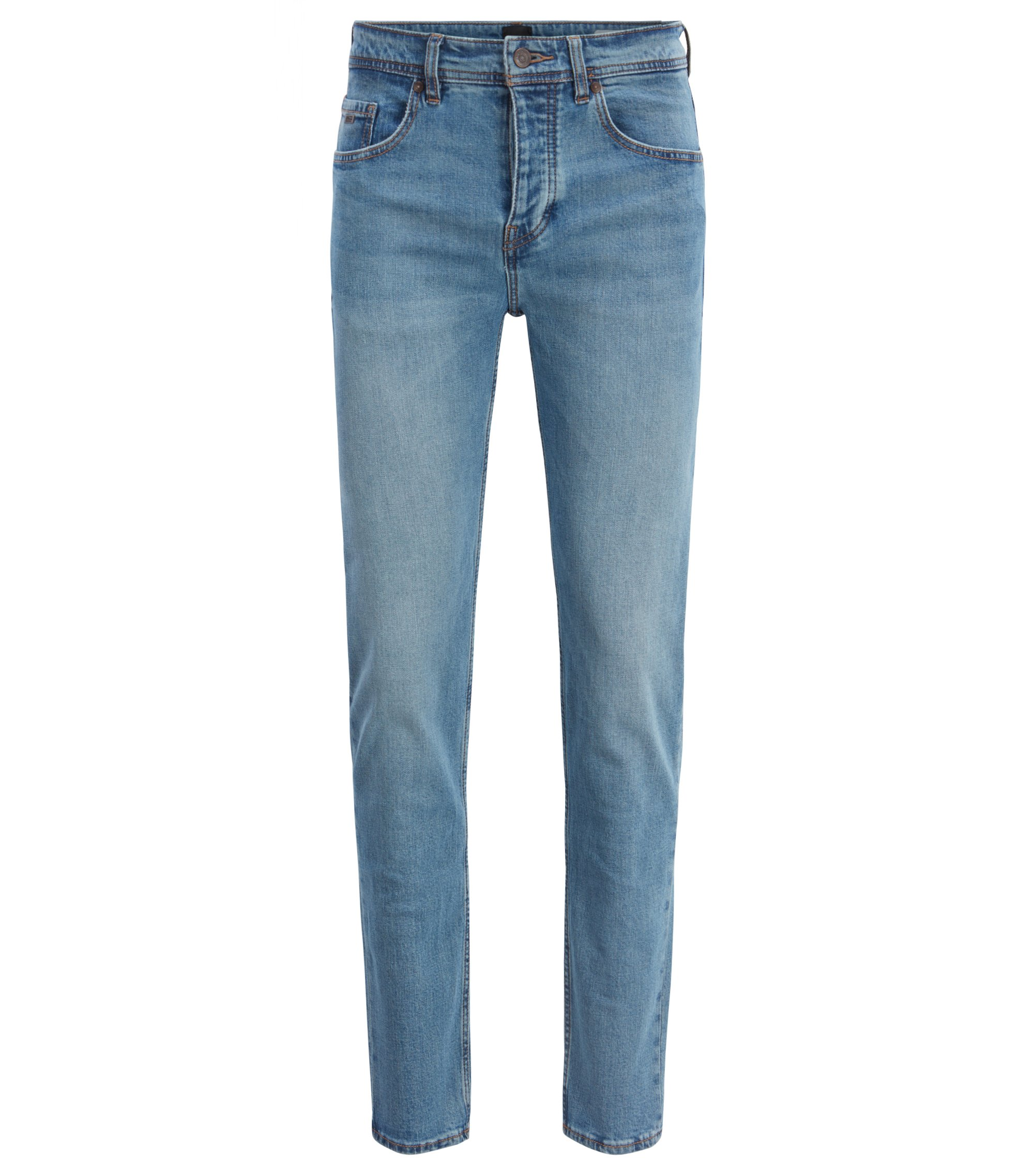 Jeans tapered fit in comodo denim open-end elasticizzato, Blu