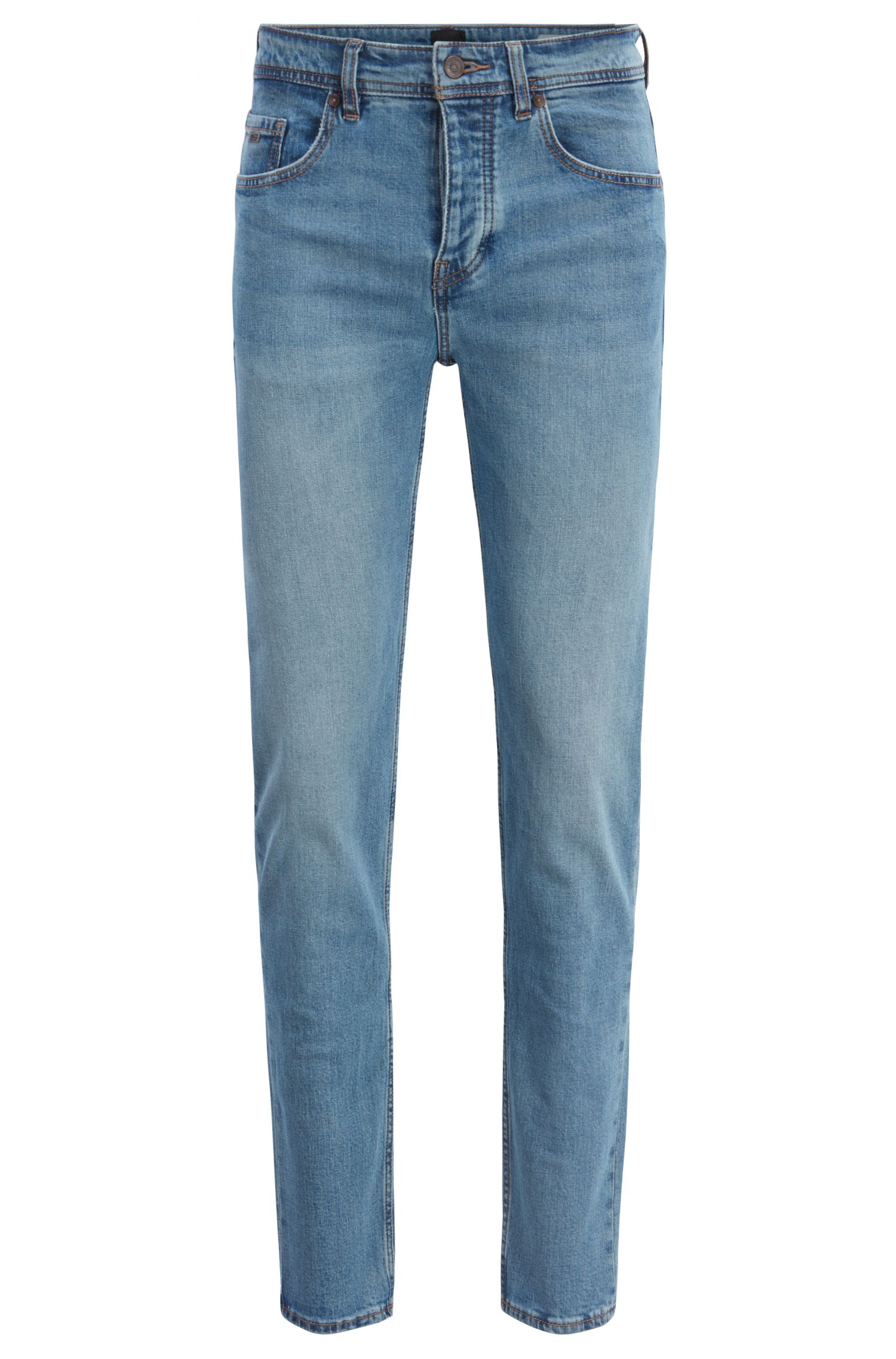 Jean Tapered Fit en denim stretch confortable à fibres libérées, Bleu