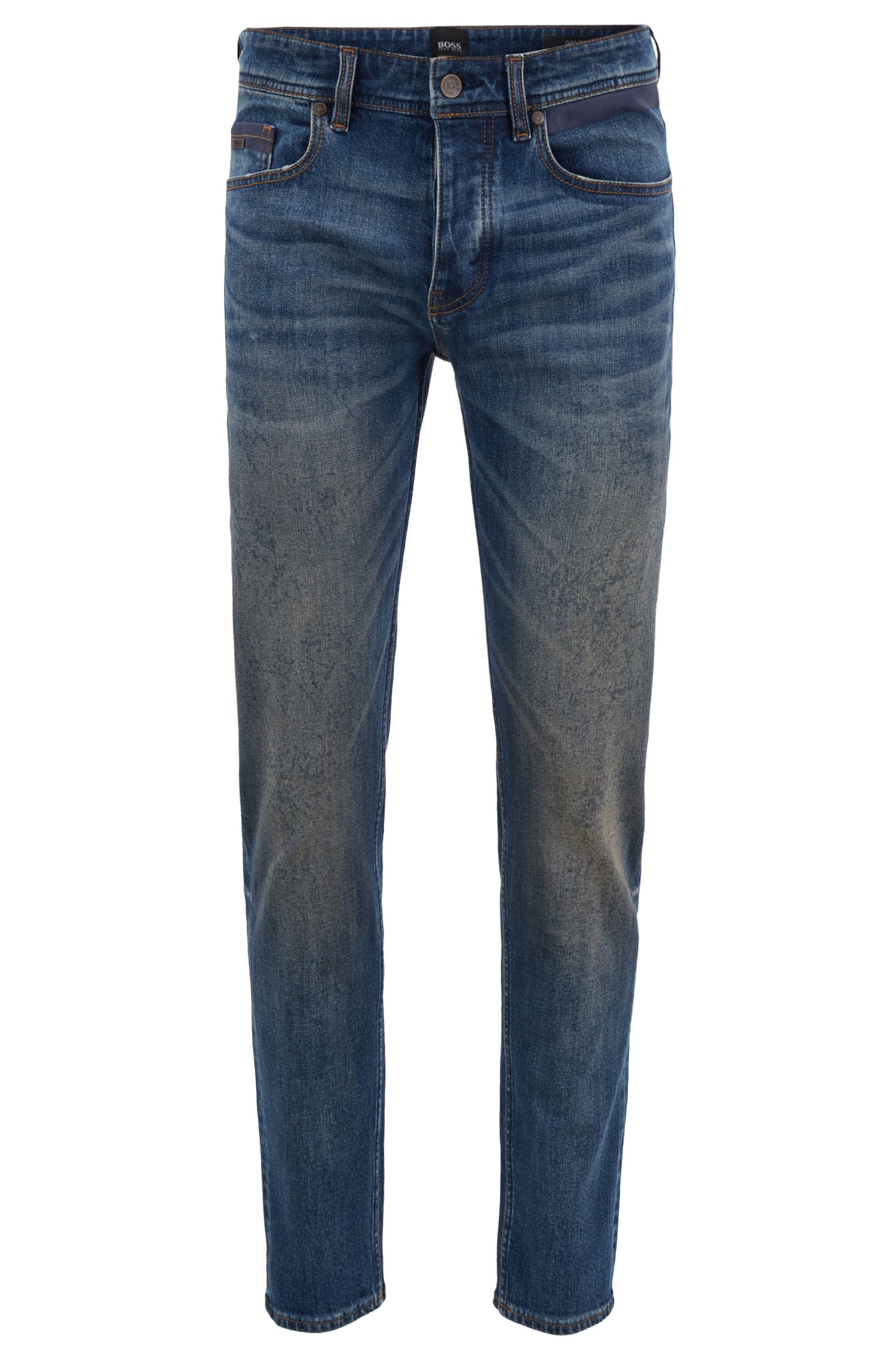 Tapered-fit jeans in comfort-stretch pigment-sprayed denim, Blue