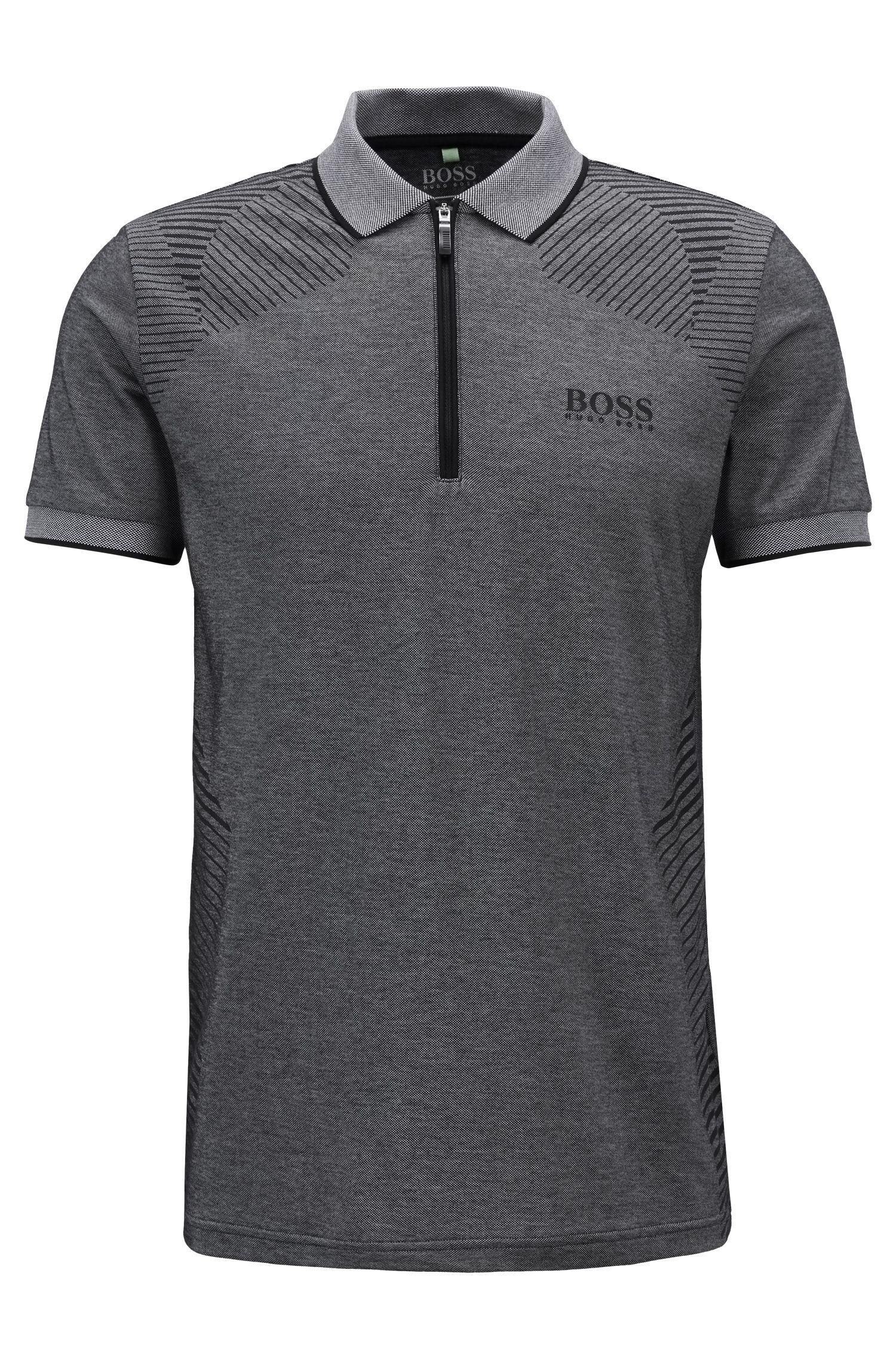 Strick-Poloshirt mit Reißverschluss am Kragen und Feuchtigkeitsregulierung, Dunkelgrau