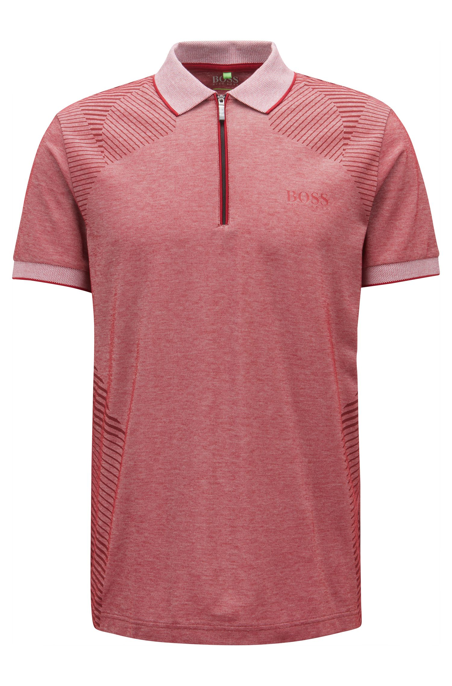 Zip-neck knitted polo shirt with moisture management, Red