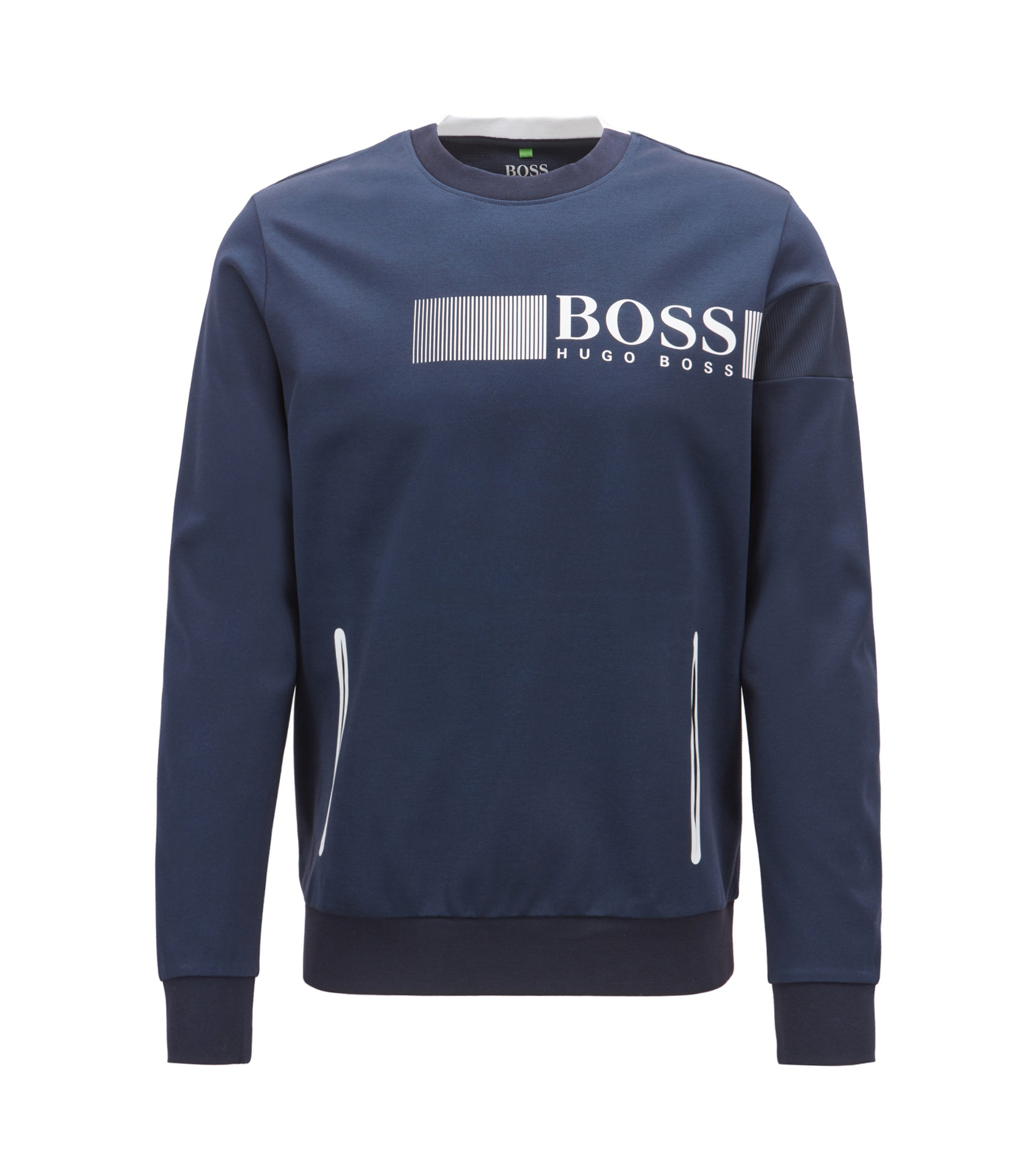 Water-repellent sweatshirt with moisture management and reflective details, Dark Blue