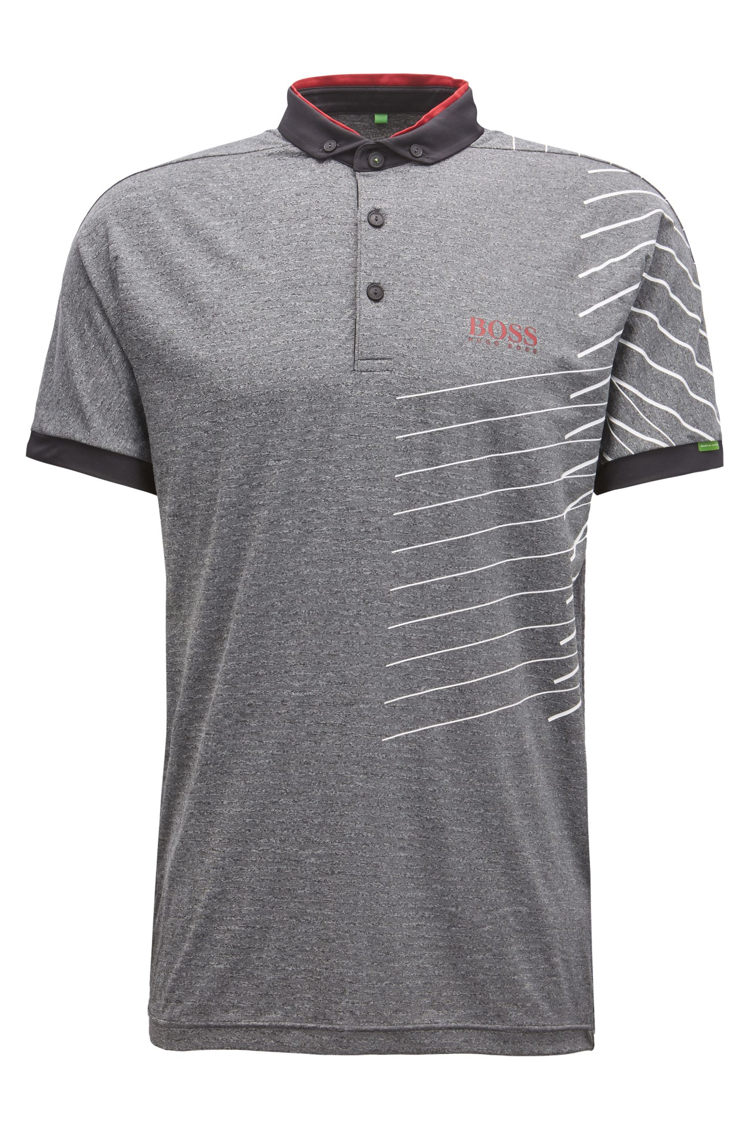 Striped polo shirt with moisture-management technology