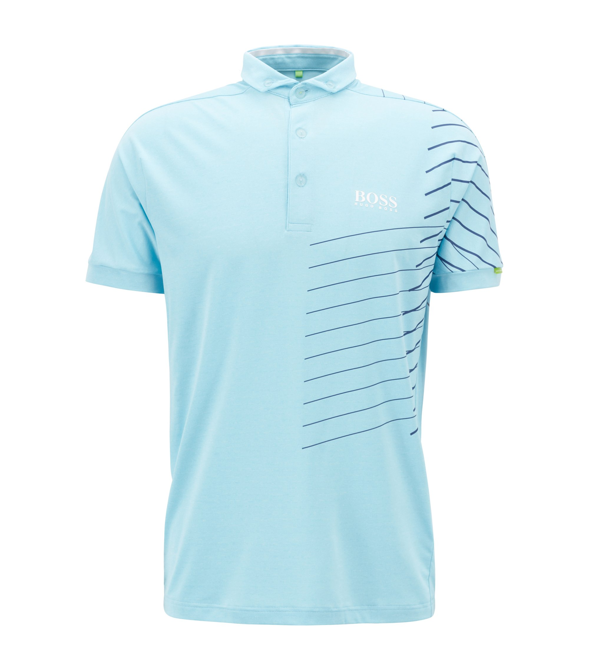 Striped polo shirt with moisture-management technology, Light Blue