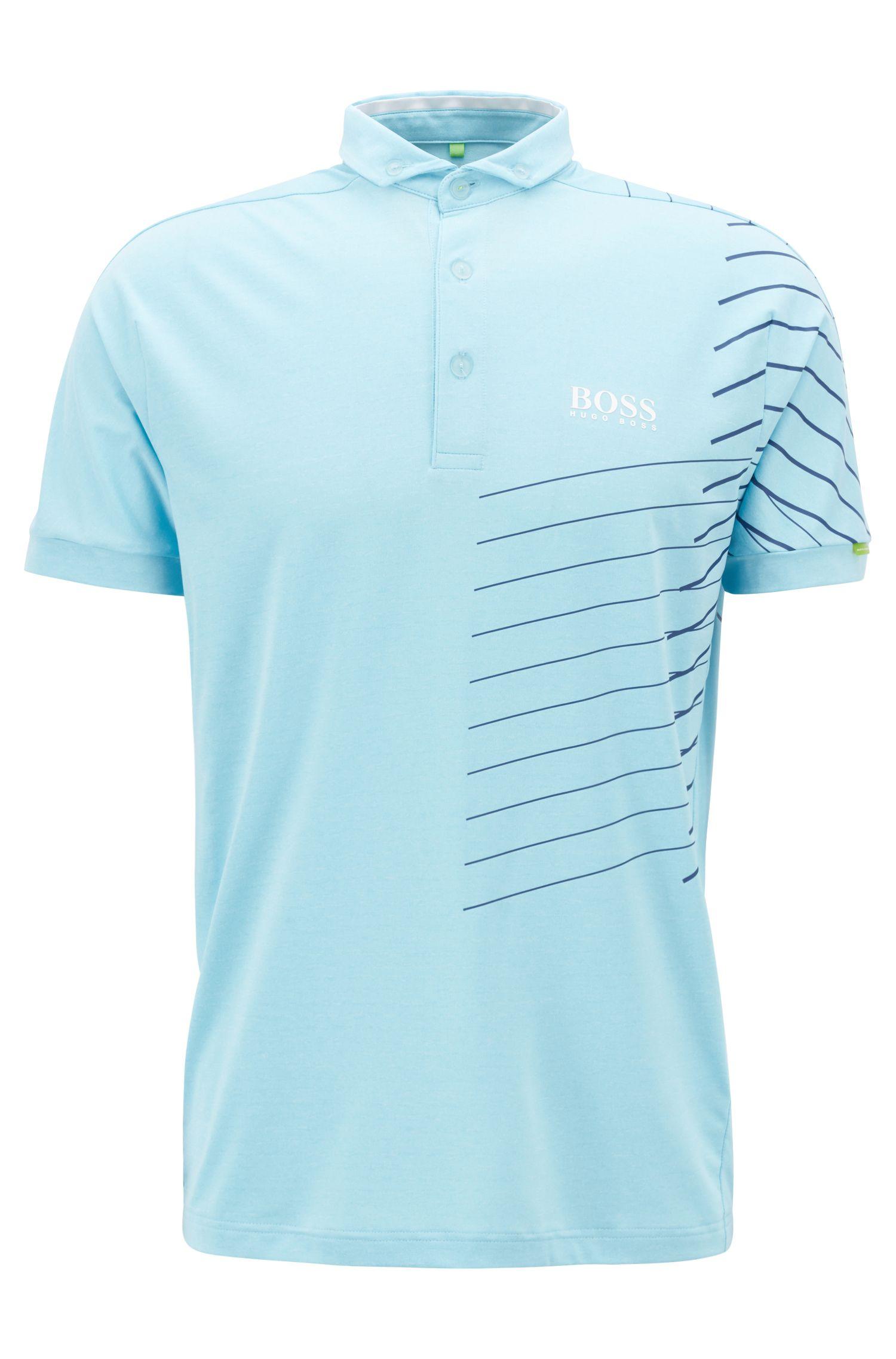 Polo à rayures avec gestion de l'humidité, Bleu vif