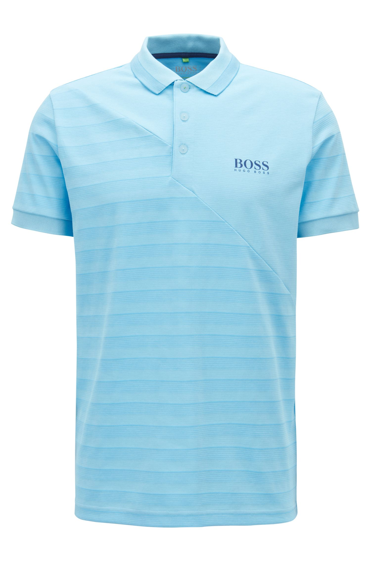 Tonal-striped polo shirt with moisture management, Light Blue