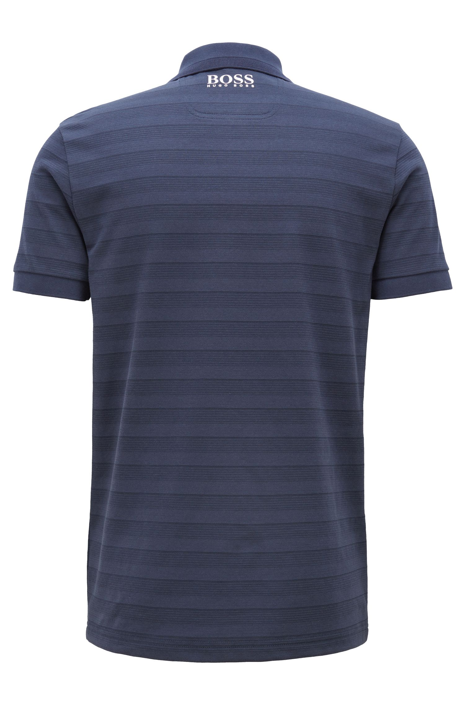 Tonal-striped polo shirt with moisture management, Dark Blue