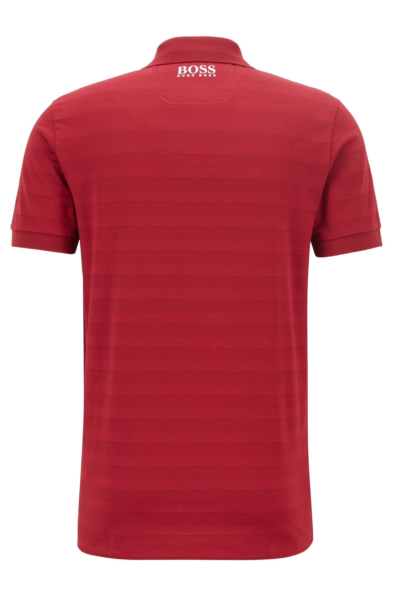 Tonal-striped polo shirt with moisture management, Dark Red