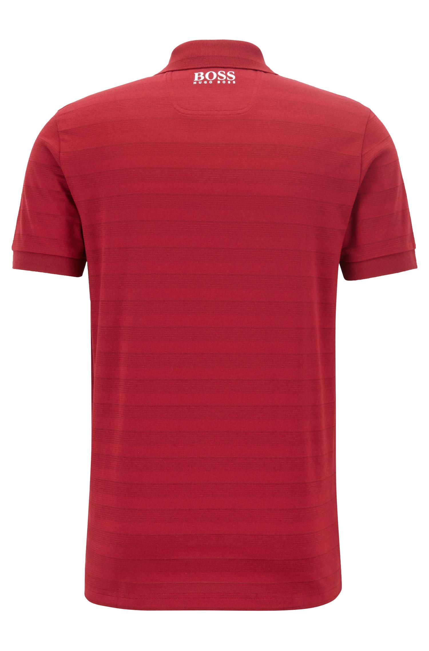 Gestreiftes Poloshirt mit Feuchtigkeitsregulierung, Dunkelrot