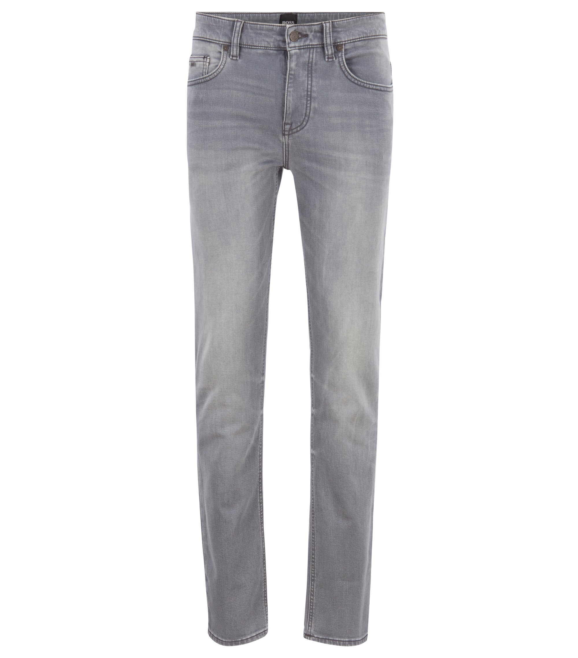 Slim-fit jeans van mid-washed gebreid stretchdenim, Grijs