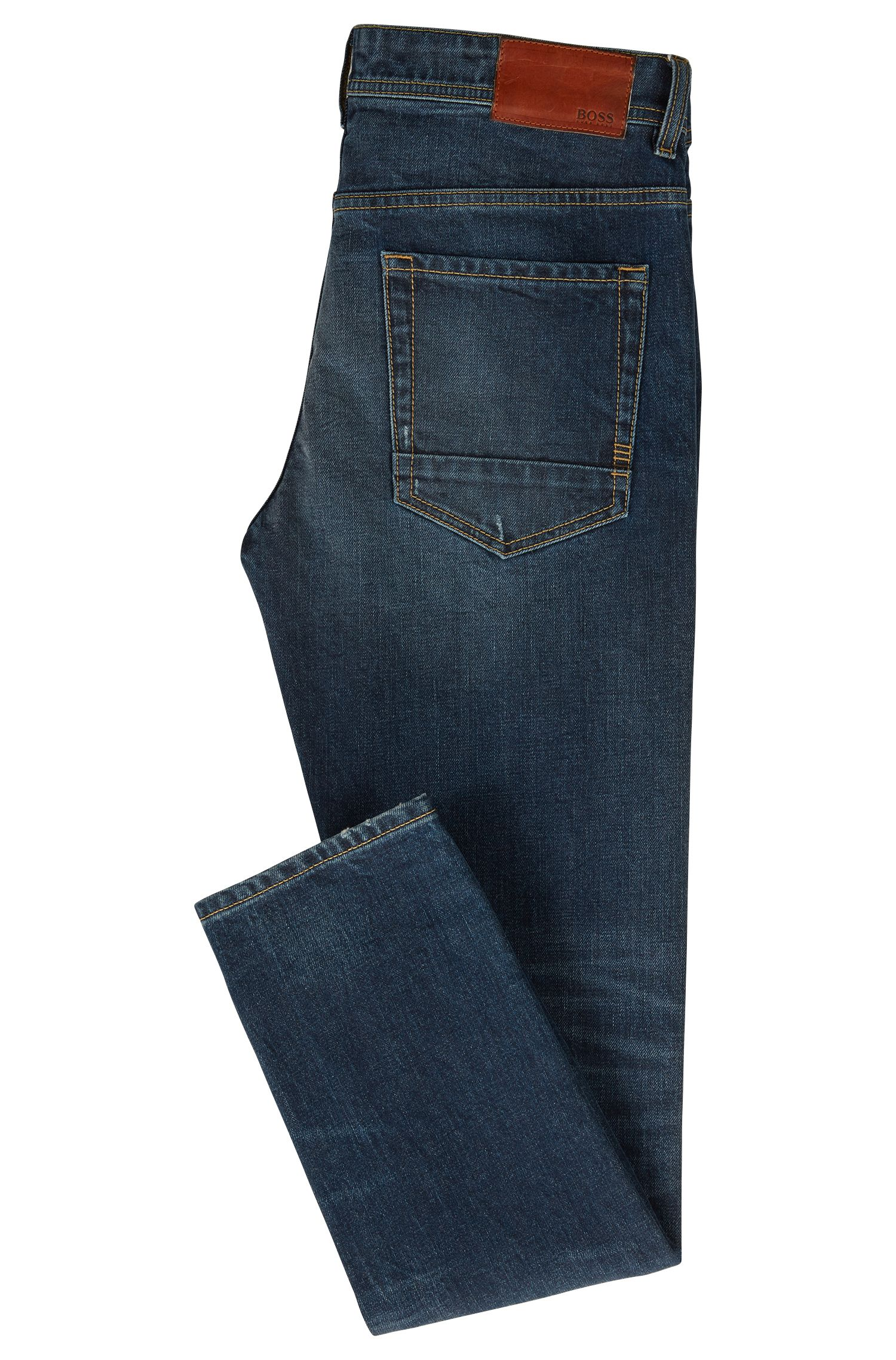 Tapered-Fit Jeans aus komfortablem Stretch-Denim, Blau