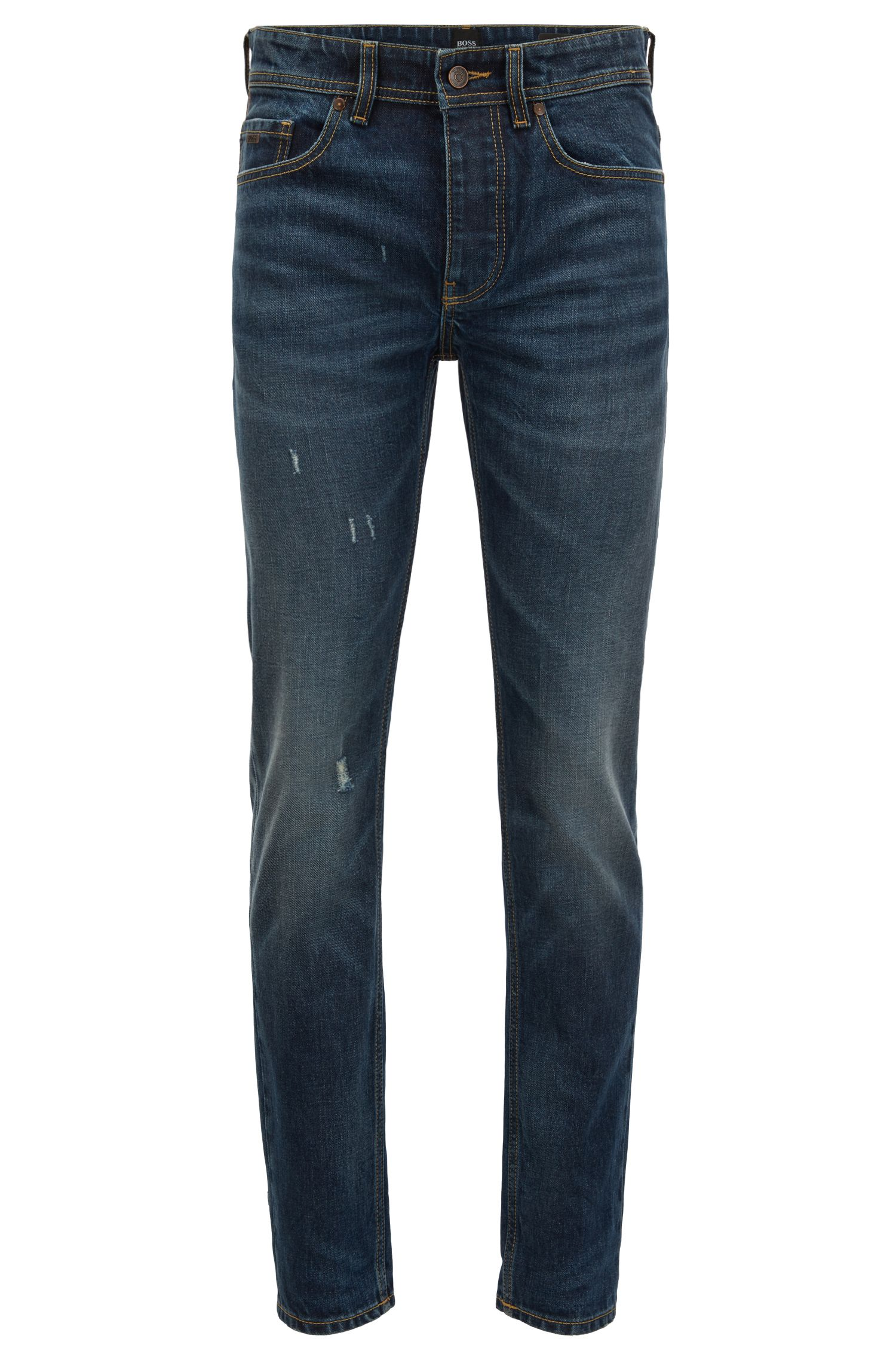 Jeans tapered fit in comodo denim slub-yarn elasticizzato
