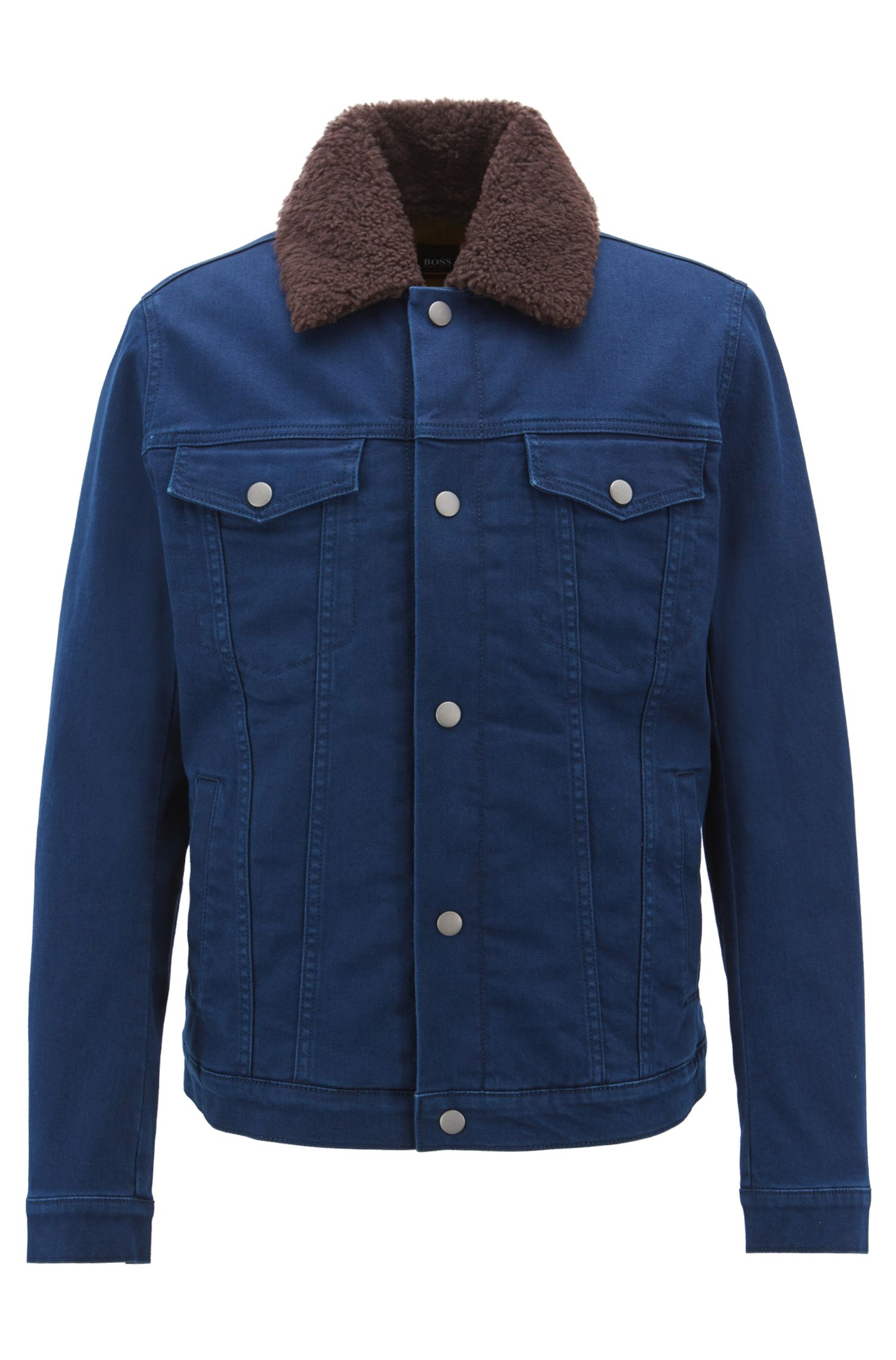 Giacca in denim regular fit con colletto in lana d'agnello rimovibile, Blu scuro