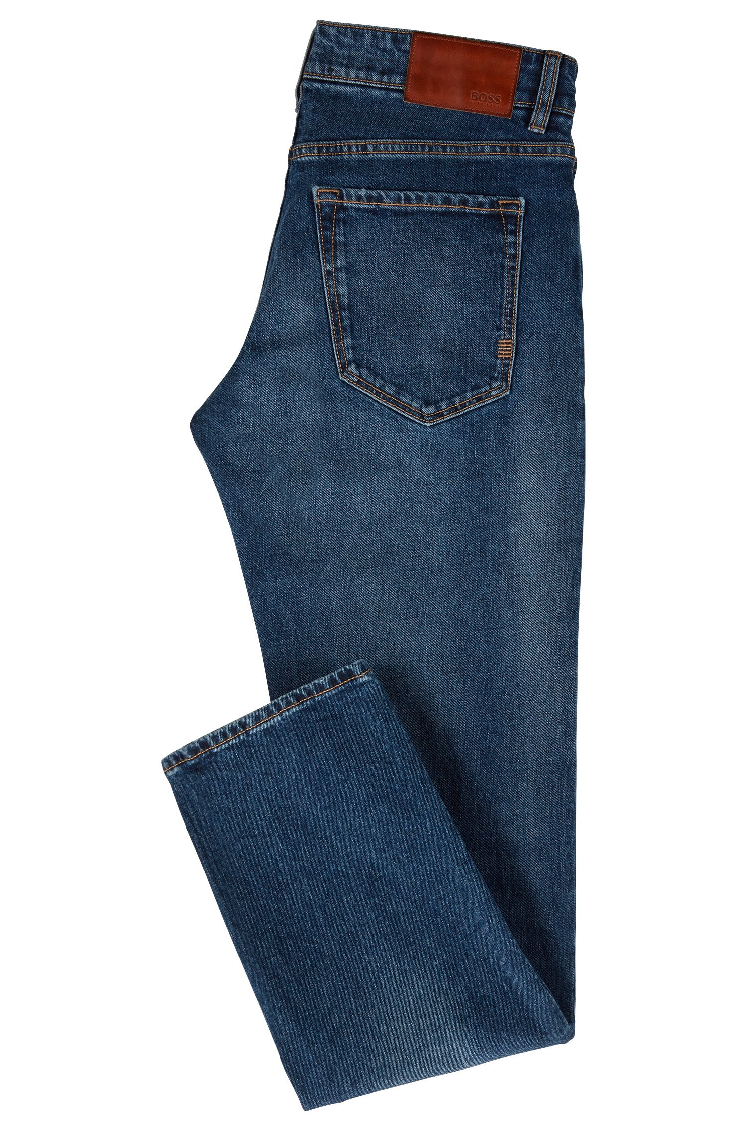 Regular-fit jeans van slub-stretchdenim, Blauw