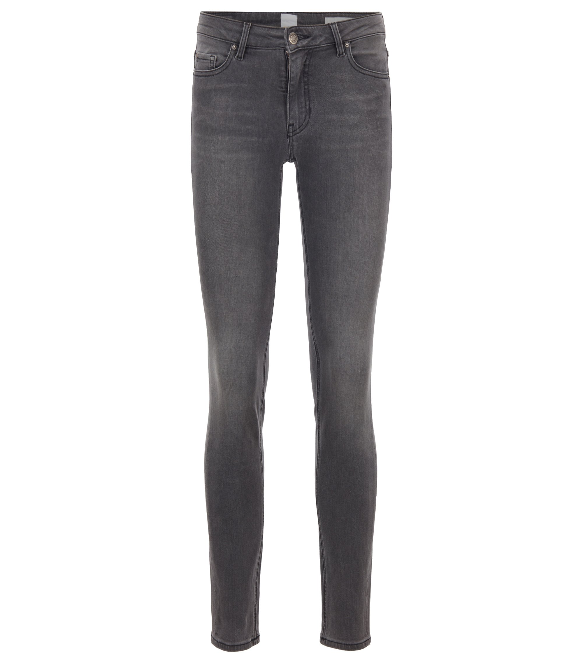 Slim-fit jeans in anthracite-grey power-stretch denim, Grey