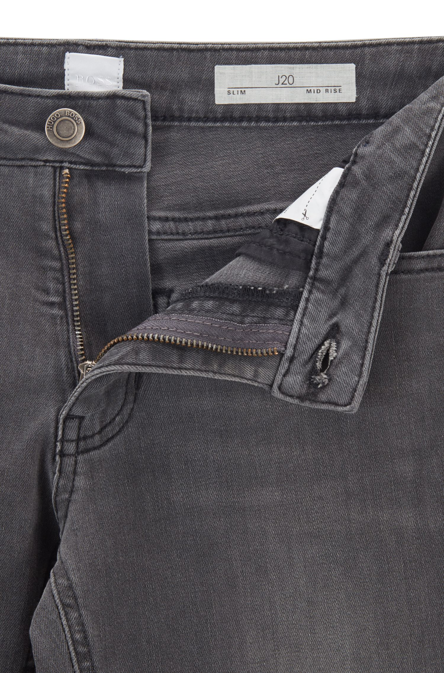 Slim-fit jeans van antracietgrijs power-stretchdenim, Grijs