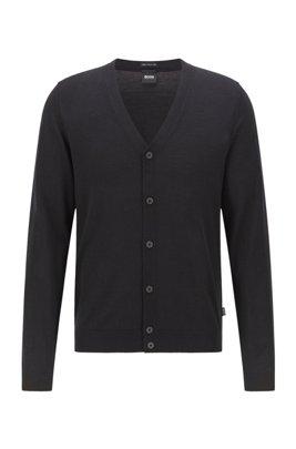 Cárdigan con cuello de pico en lana de merino italiana superfina, Negro
