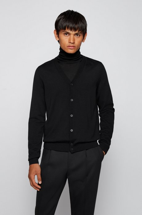 V-neck cardigan in extra-fine Italian merino wool, Black