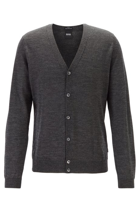 Cardigan con scollo a V in pregiata lana merino realizzata in Italia, Nero