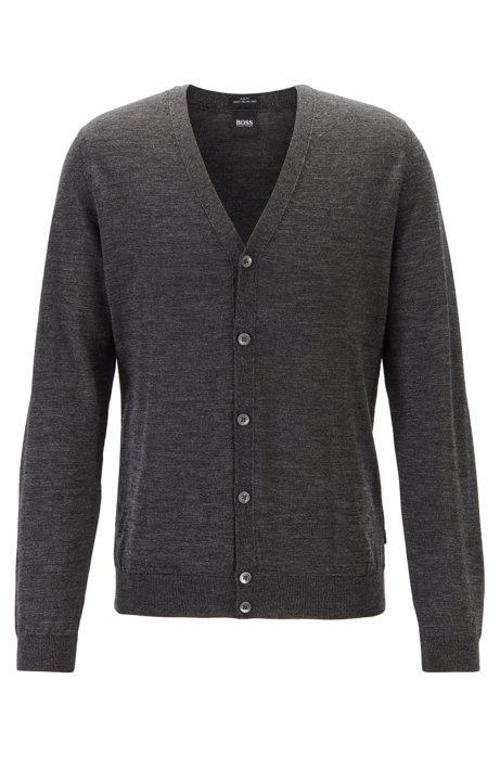 V-neck cardigan in extra-fine Italian merino wool, Black