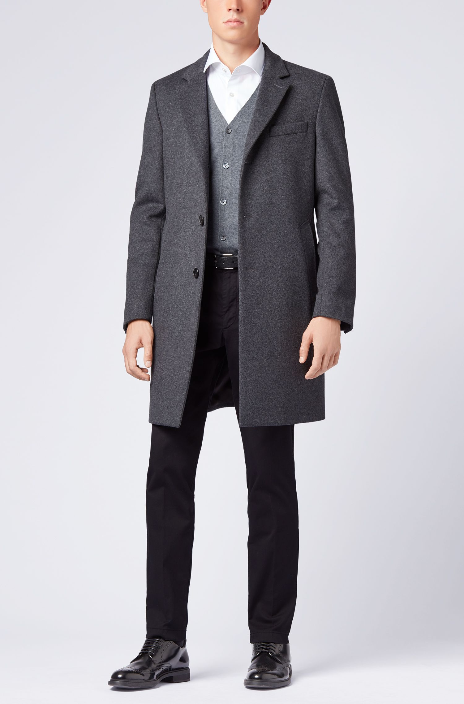 V-neck cardigan in extra-fine Italian merino wool, Grey
