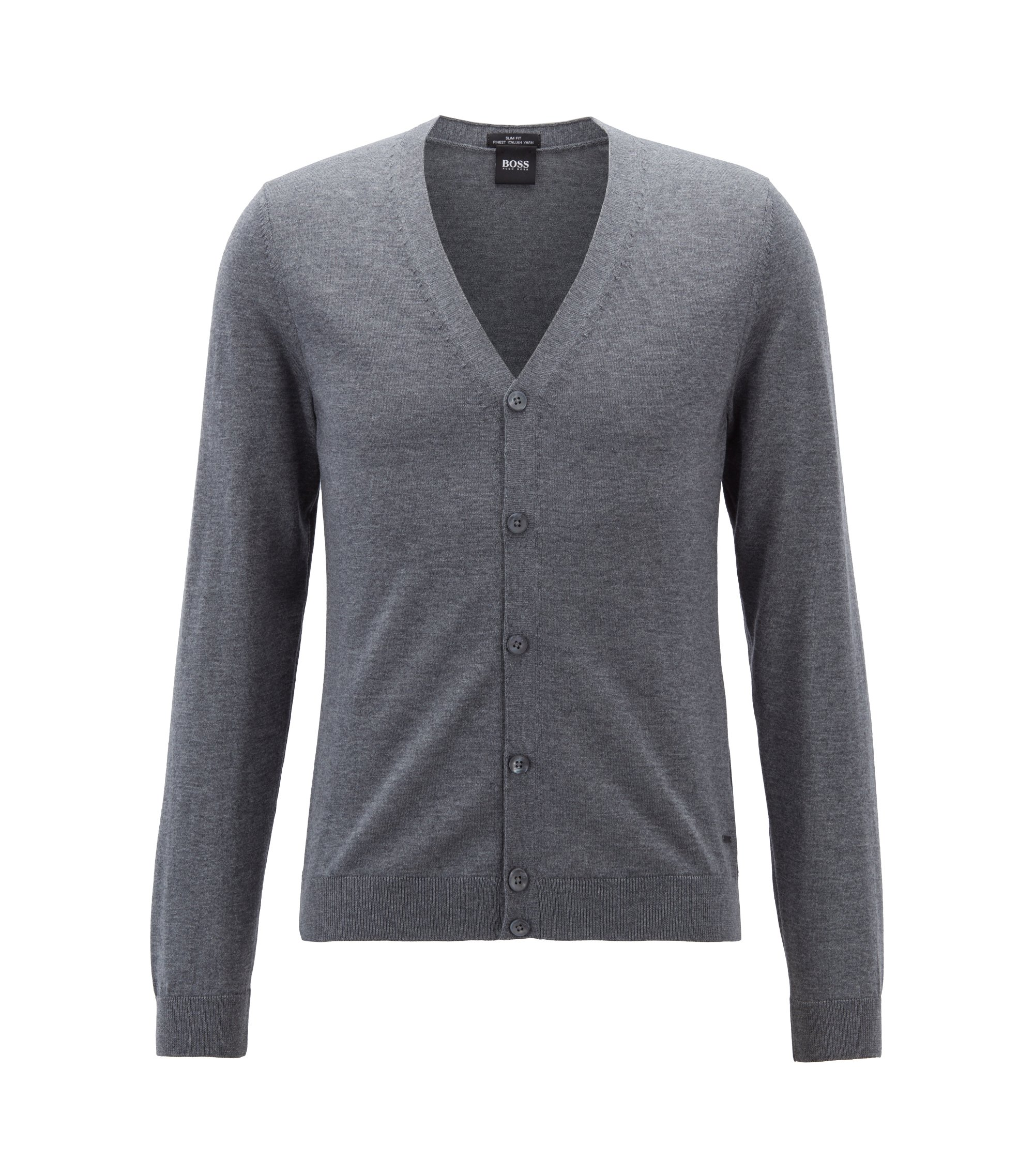V-neck cardigan in extra-fine Italian merino wool, Grey
