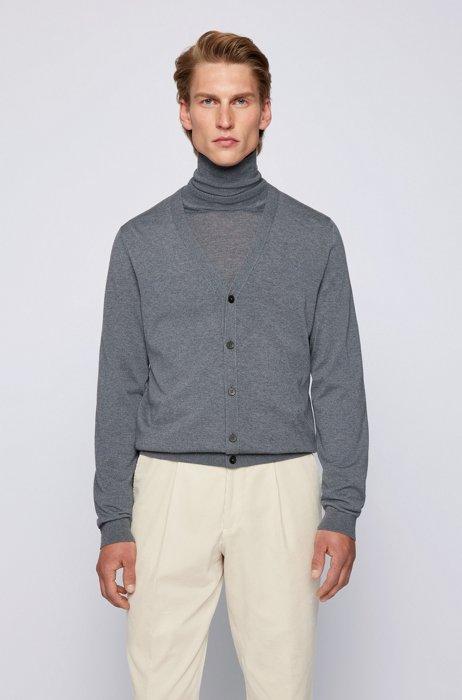 Cardigan mit V-Ausschnitt aus extrafeiner italienischer Merinowolle, Grau
