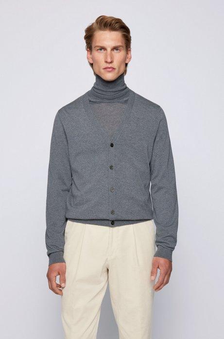 Vest met V-hals van extra fijne Italiaanse merinowol, Grijs