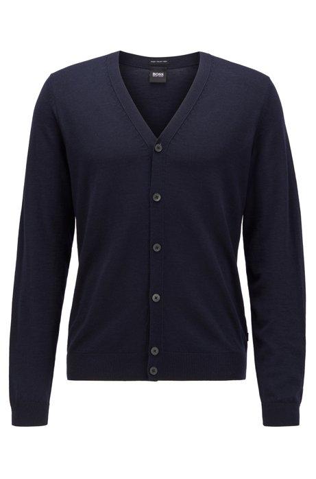 Cardigan con scollo a V in pregiata lana merino realizzata in Italia, Blu scuro