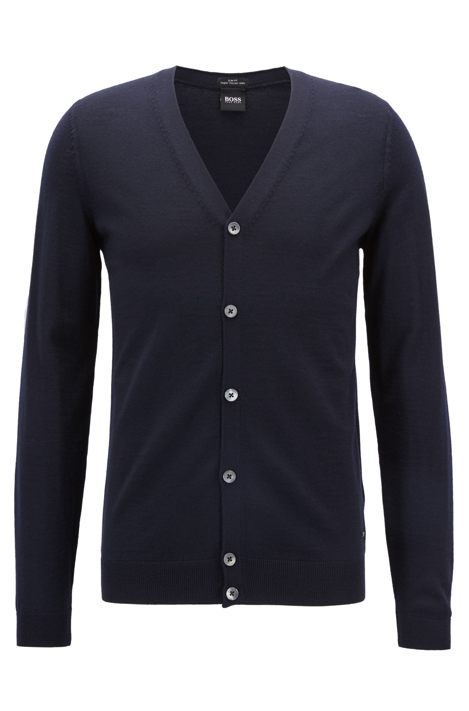 V-neck cardigan in extra-fine Italian merino wool, Blue