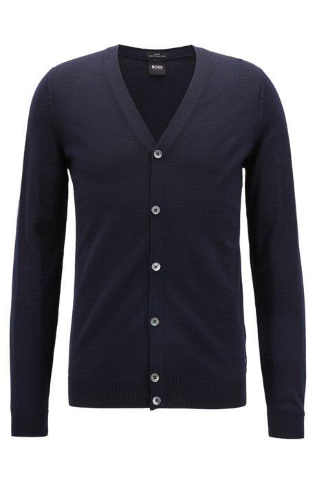 V-neck cardigan in extra-fine Italian merino wool, Blue