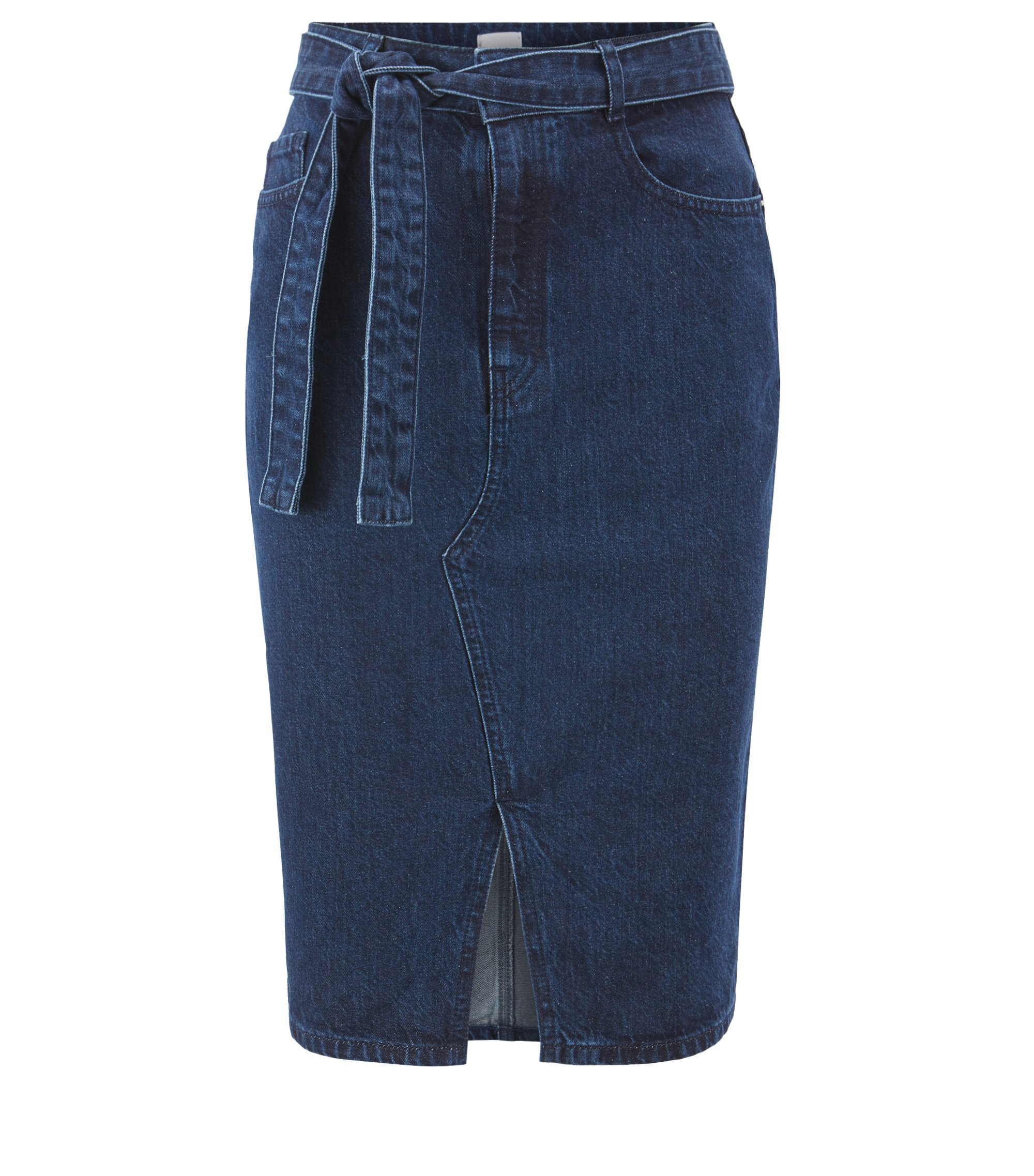 Pencil skirt in Spanish recycled denim with front slit, Blue