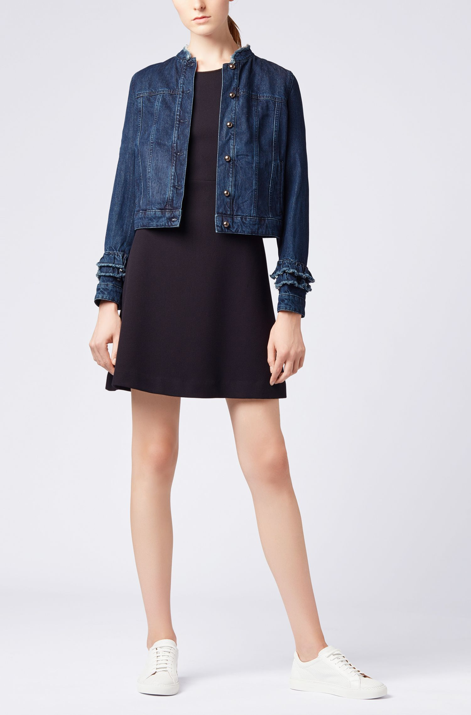 Ruffle-detail jacket in Spanish recycled denim, Blue