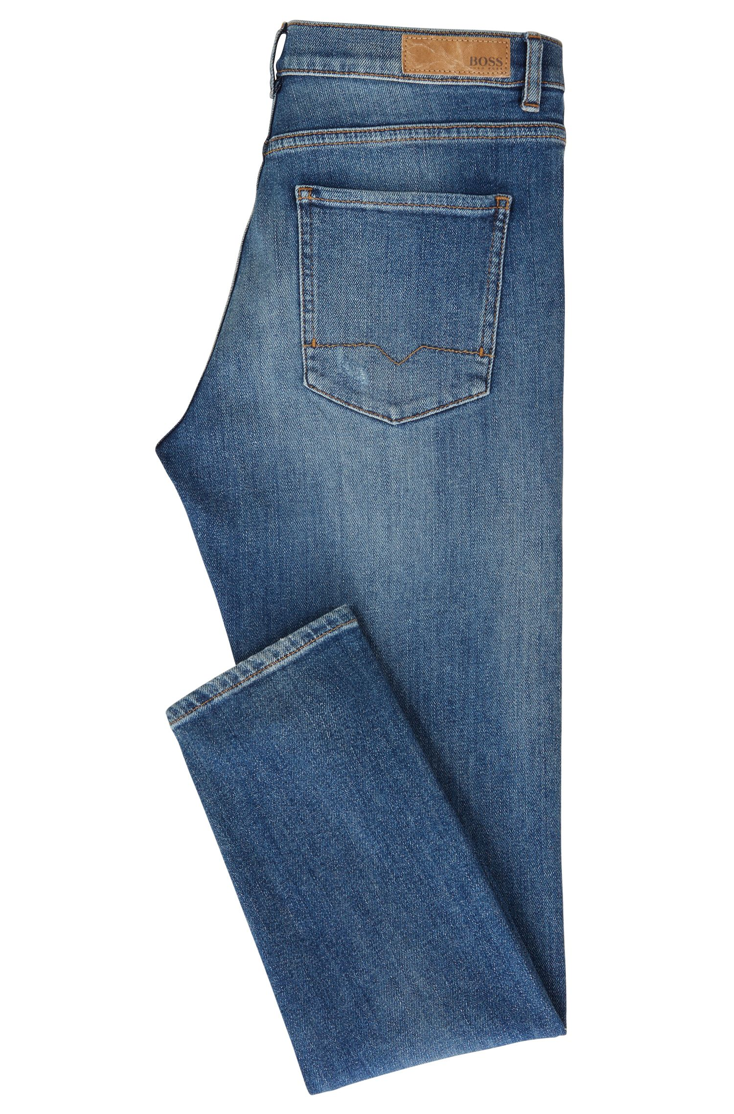 Slim-Fit Jeans aus komfortablem Stretch-Denim in Cropped-Länge, Blau