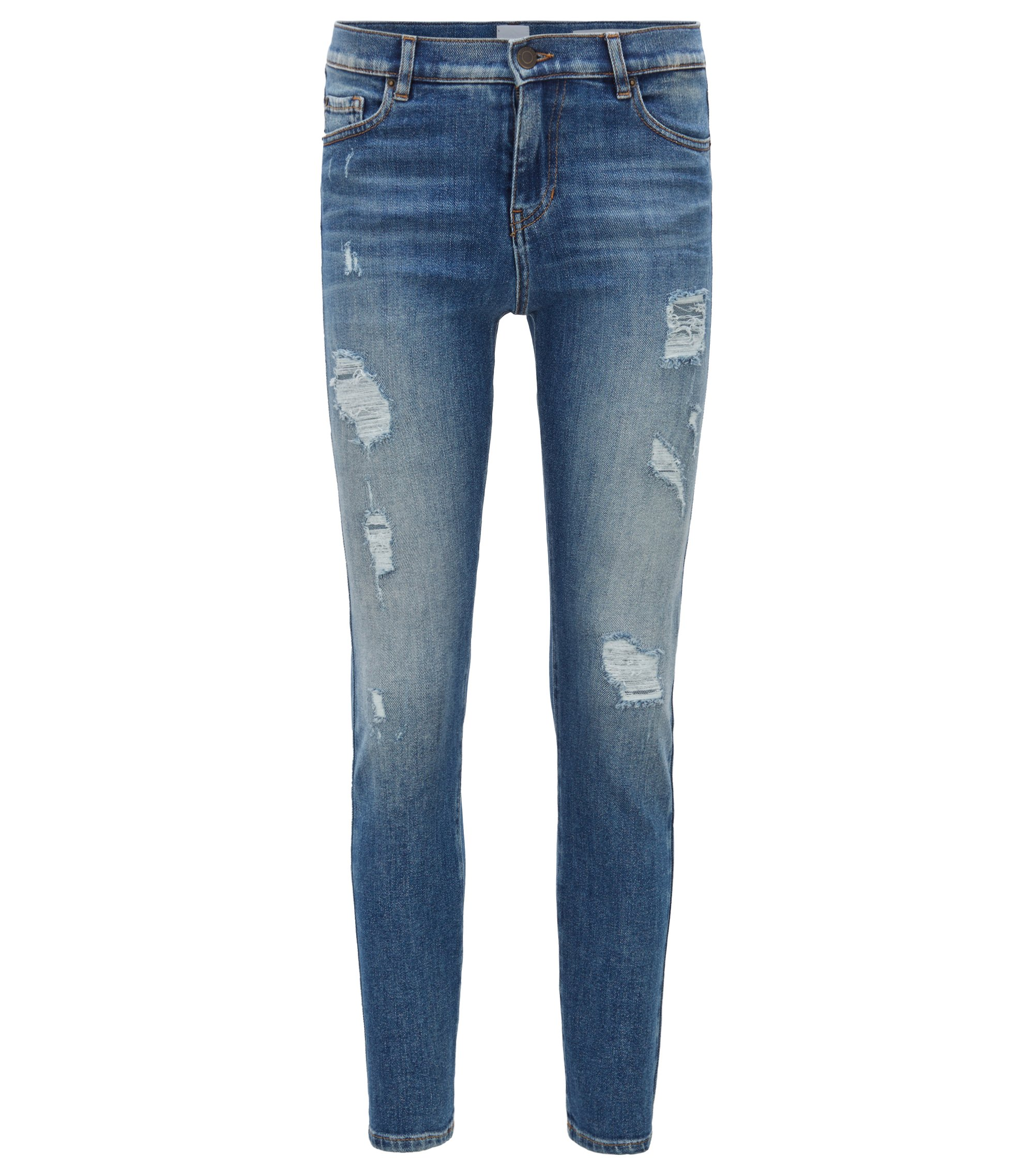 Slim-fit cropped jeans in comfort-stretch denim, Blue