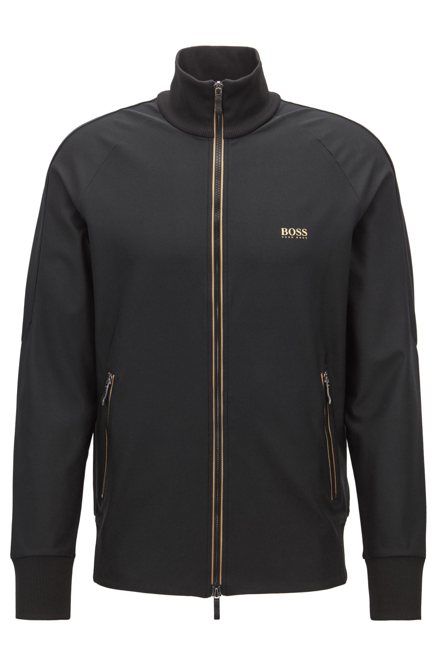Zip-through sweatshirt in active-stretch with S.Café®, Black