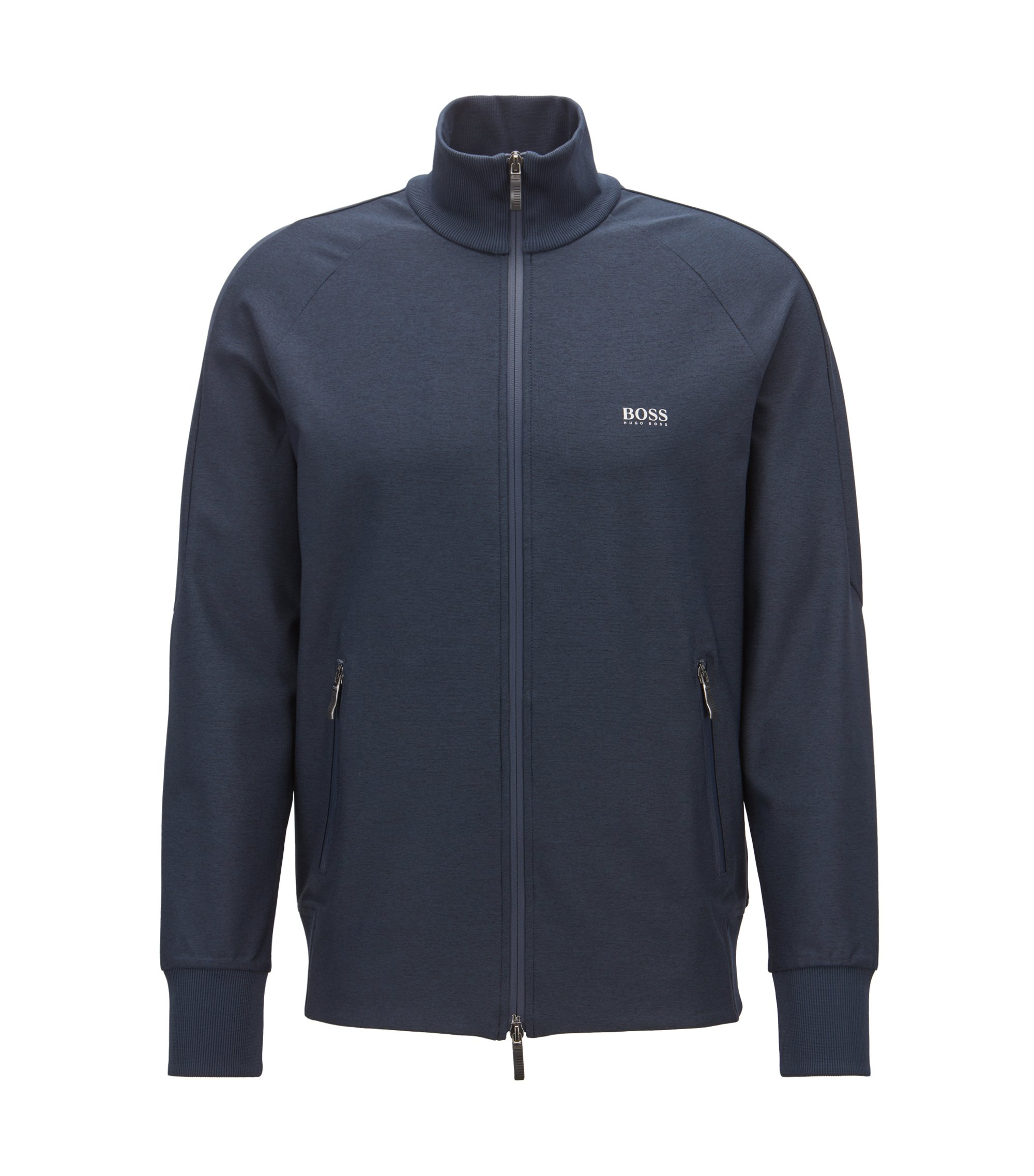 Zip-through sweatshirt in active-stretch with S.Café®, Dark Blue