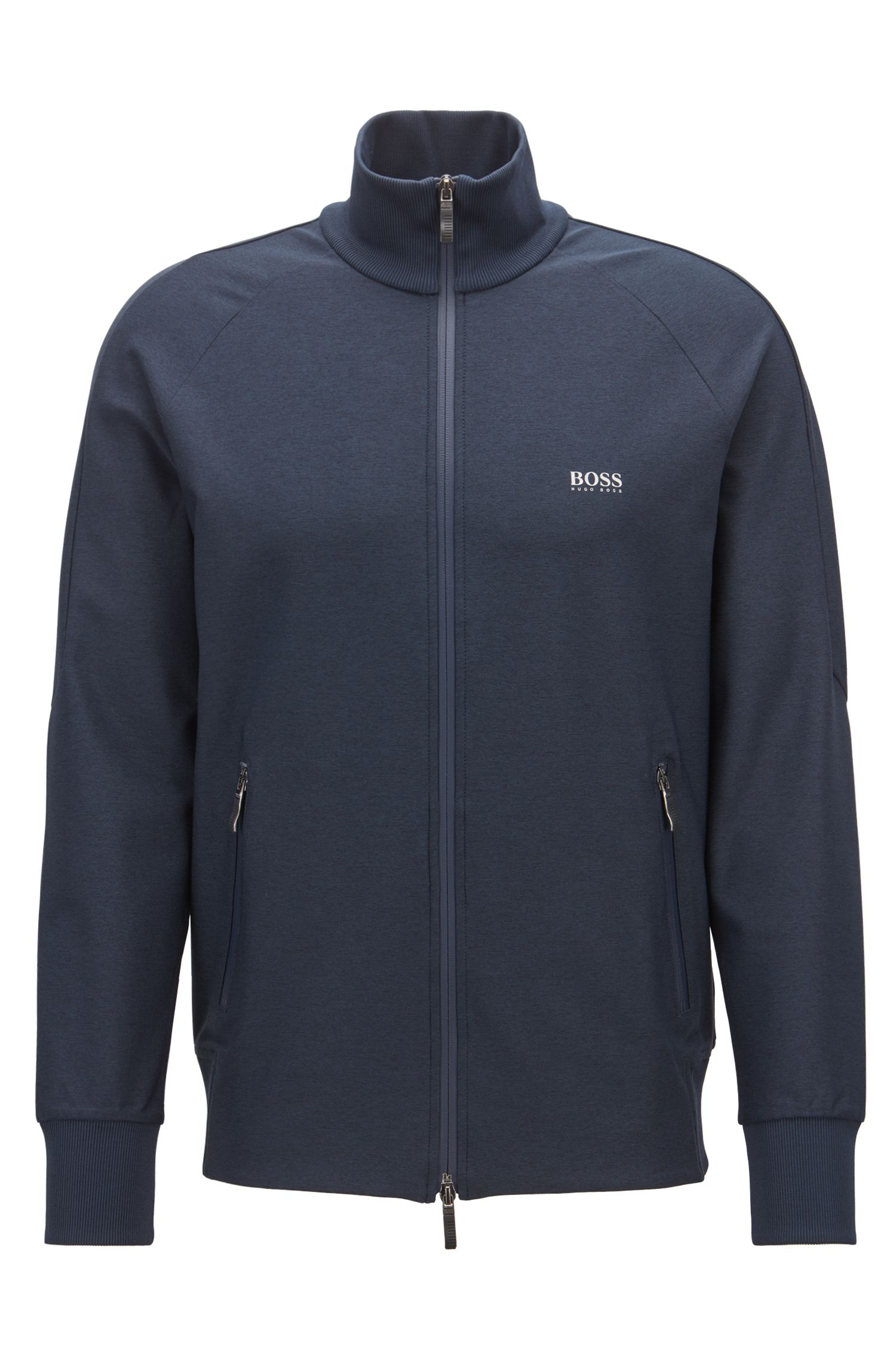 Zip-through sweatshirt in active-stretch with S.Café®