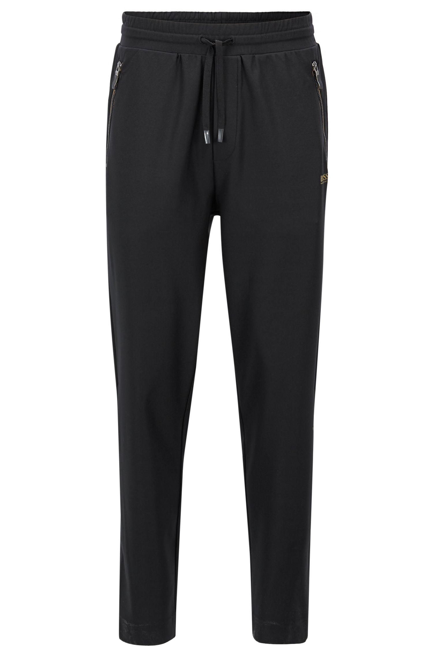 Slim-fit broek van jersey stretchmateriaal met S.Café®, Zwart