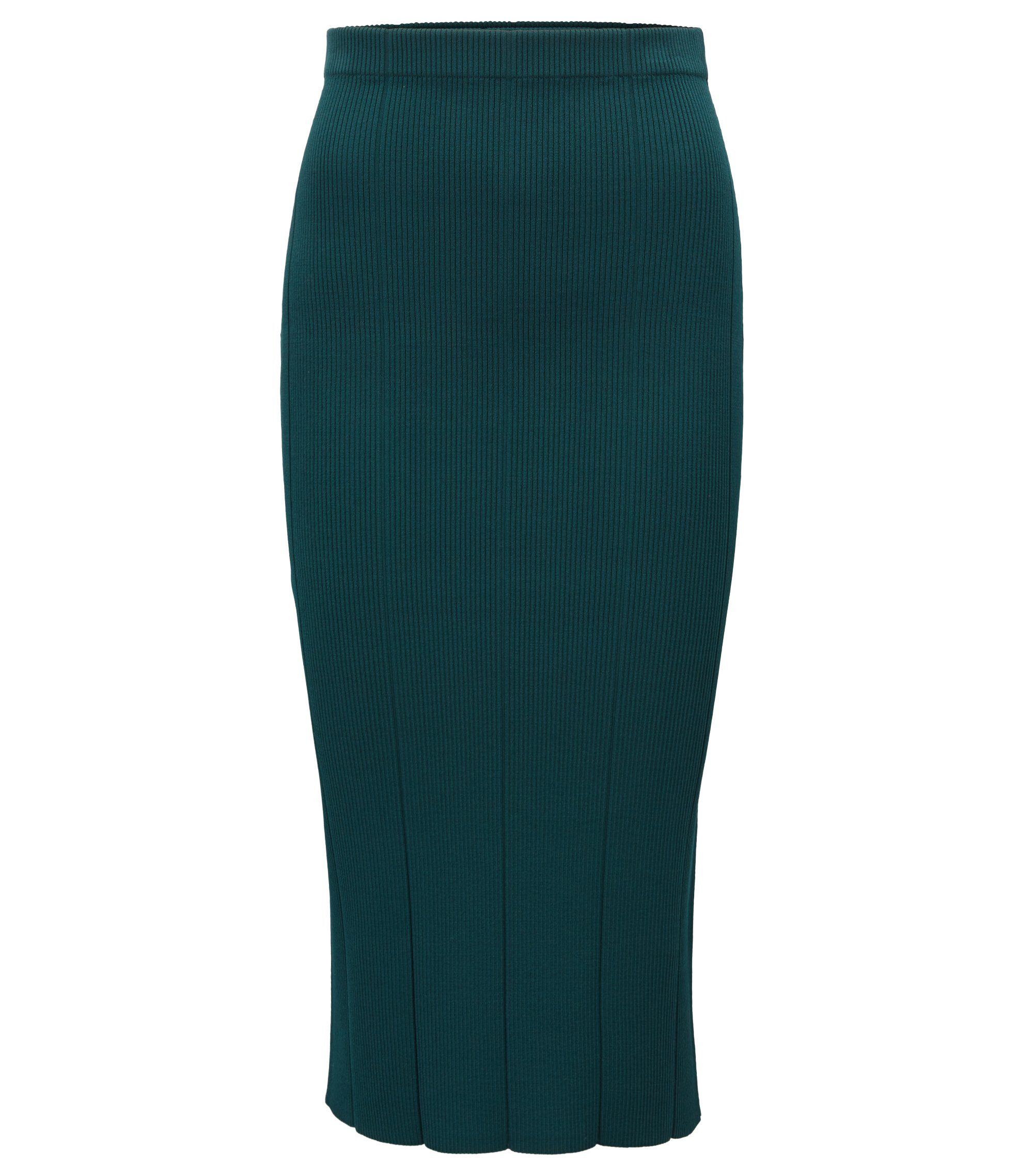 Pencil skirt in 3D-ribbed fabric, Green