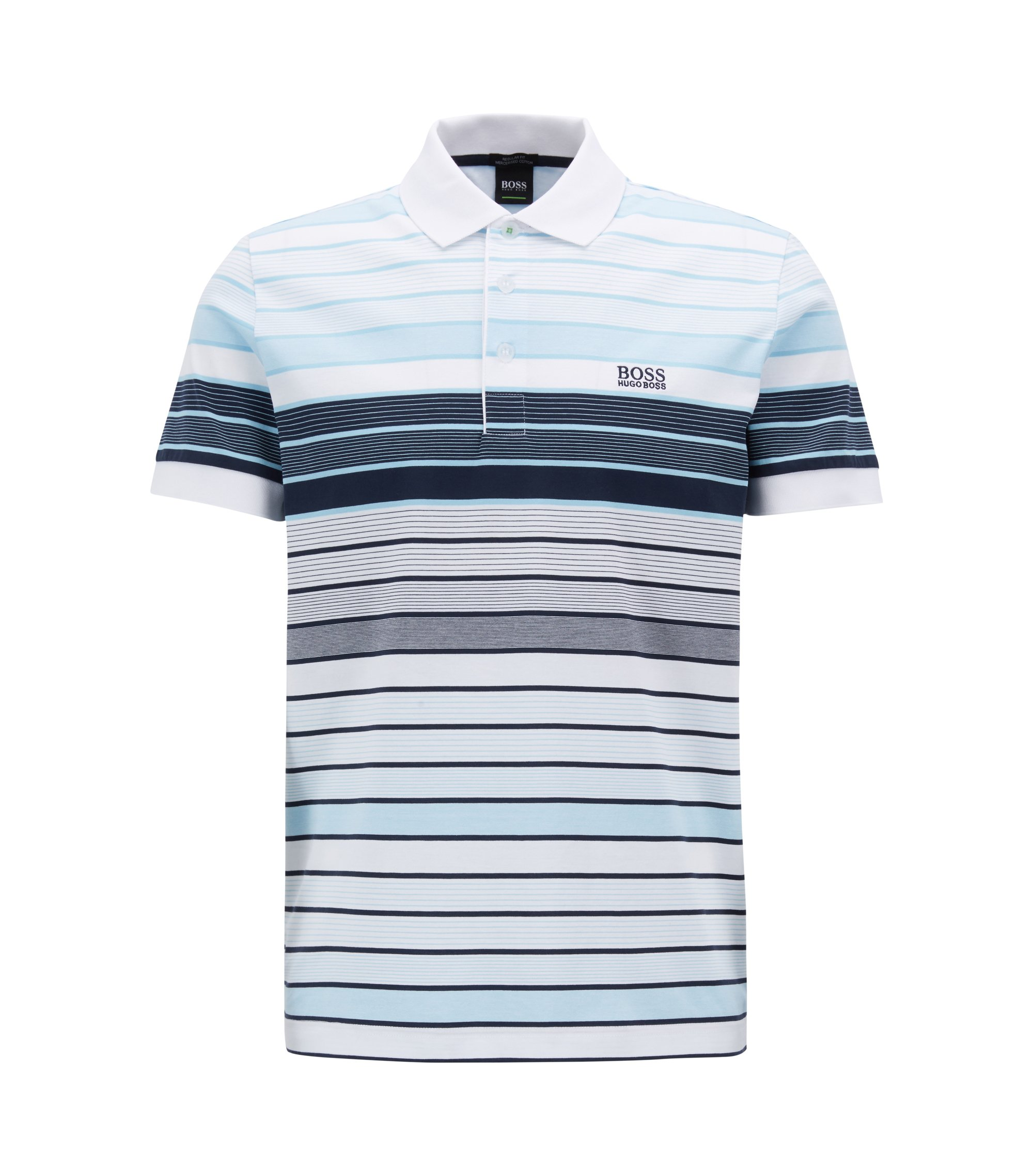Polo regular fit a rayas en algodón mercerizado, Blanco