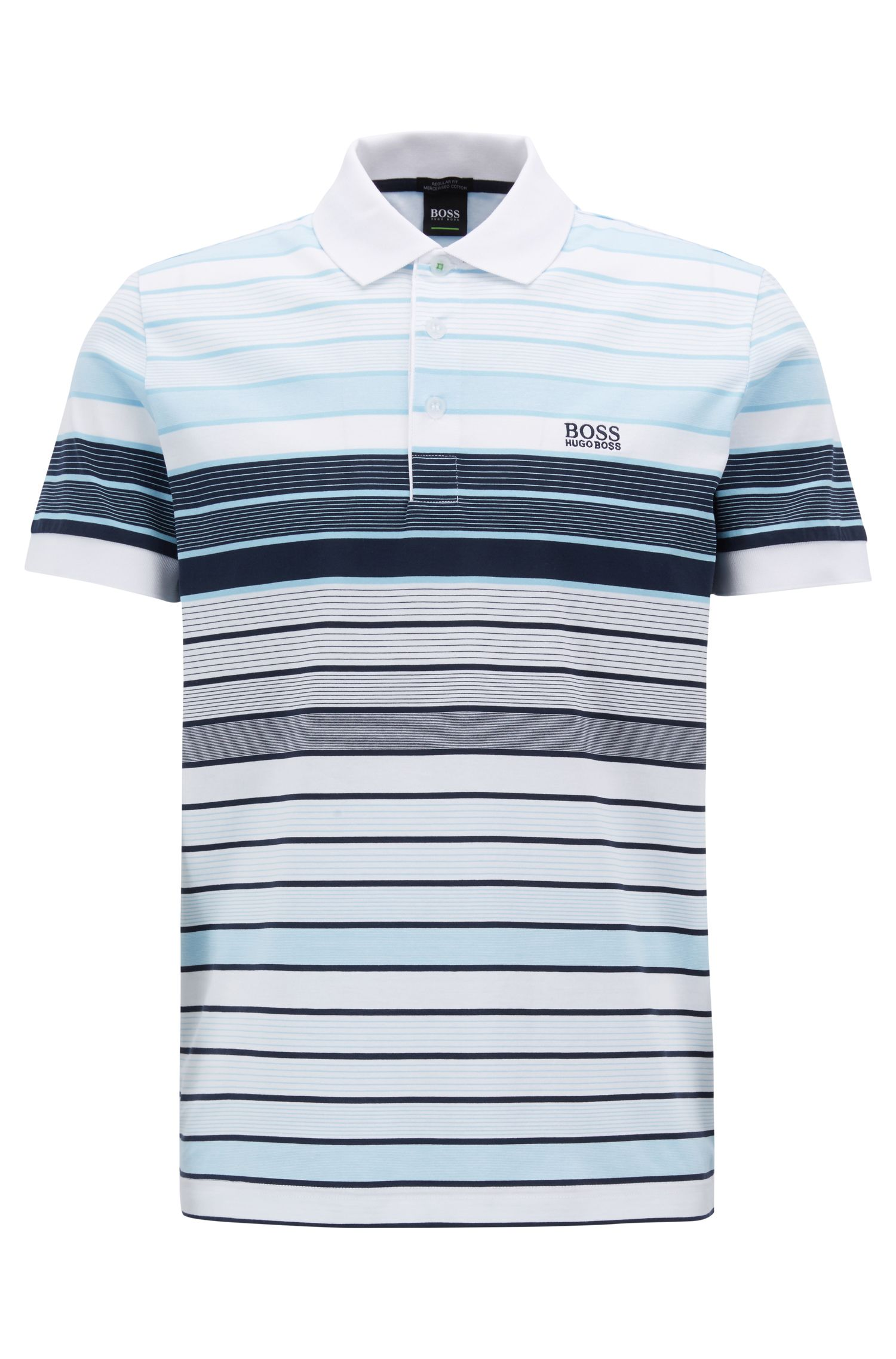 Regular-fit striped polo shirt in mercerised cotton, White