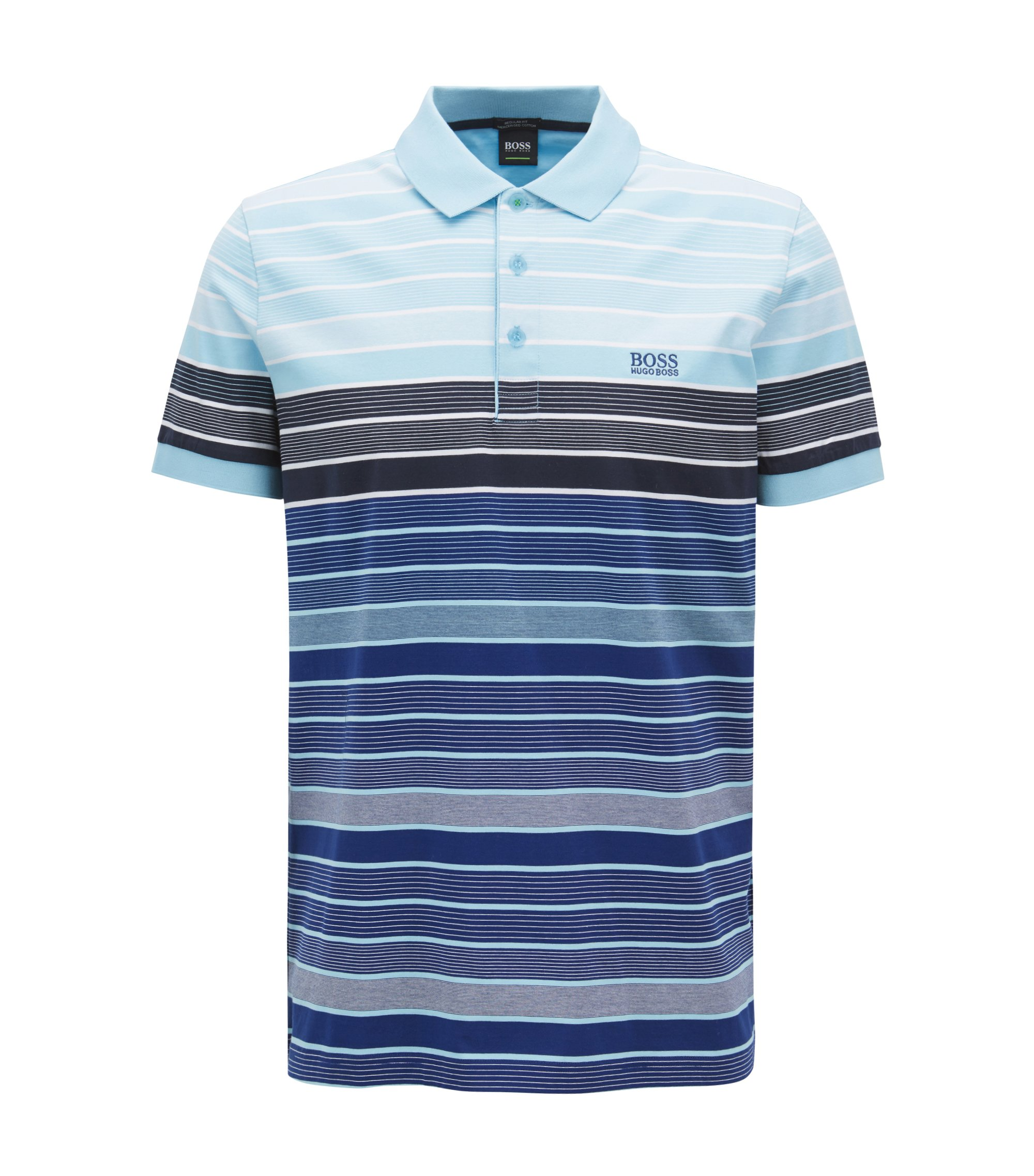 Regular-fit striped polo shirt in mercerised cotton, Dark Blue