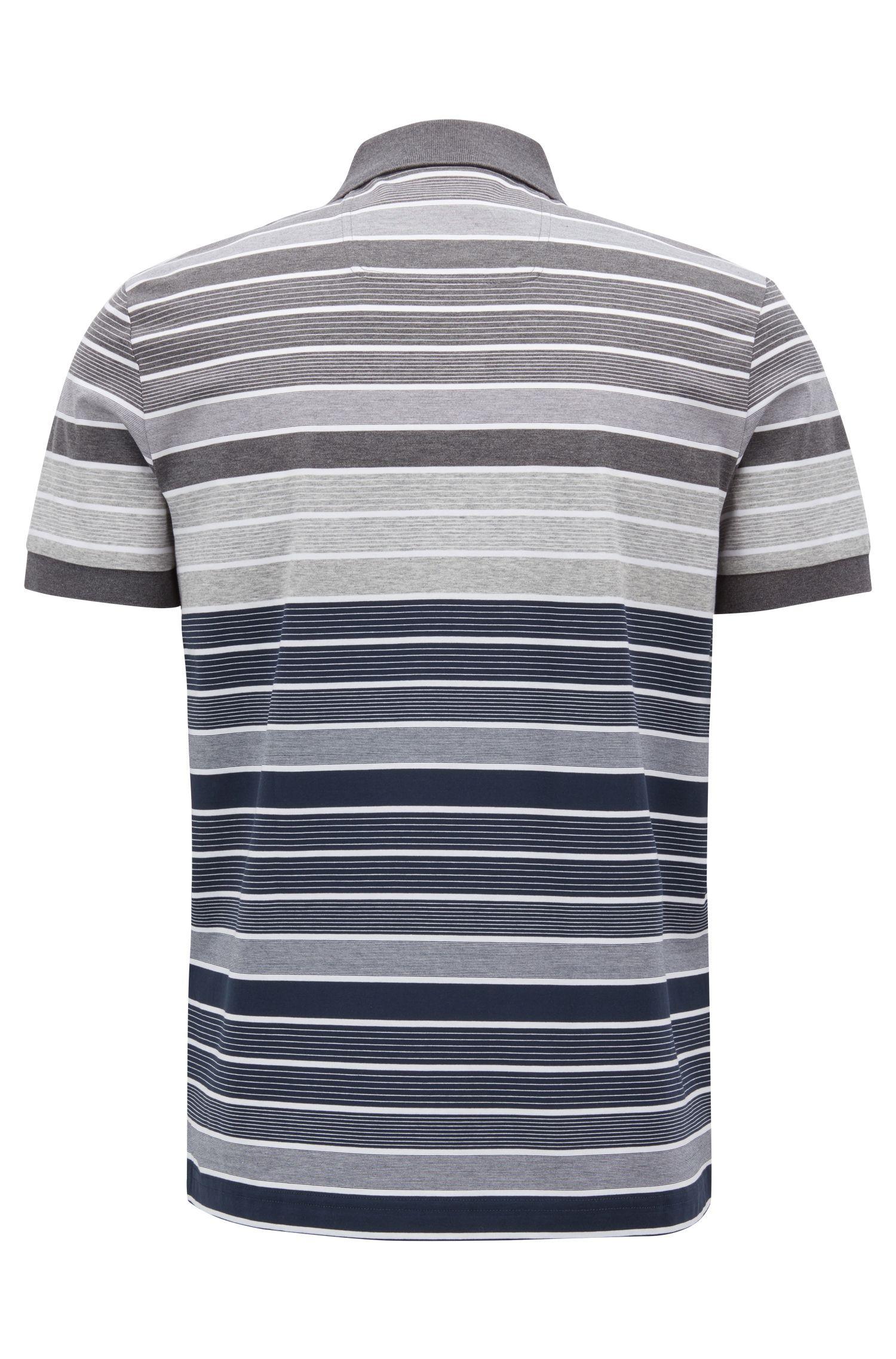 Gestreiftes Poloshirt aus merzerisierter Baumwolle, Dunkelblau