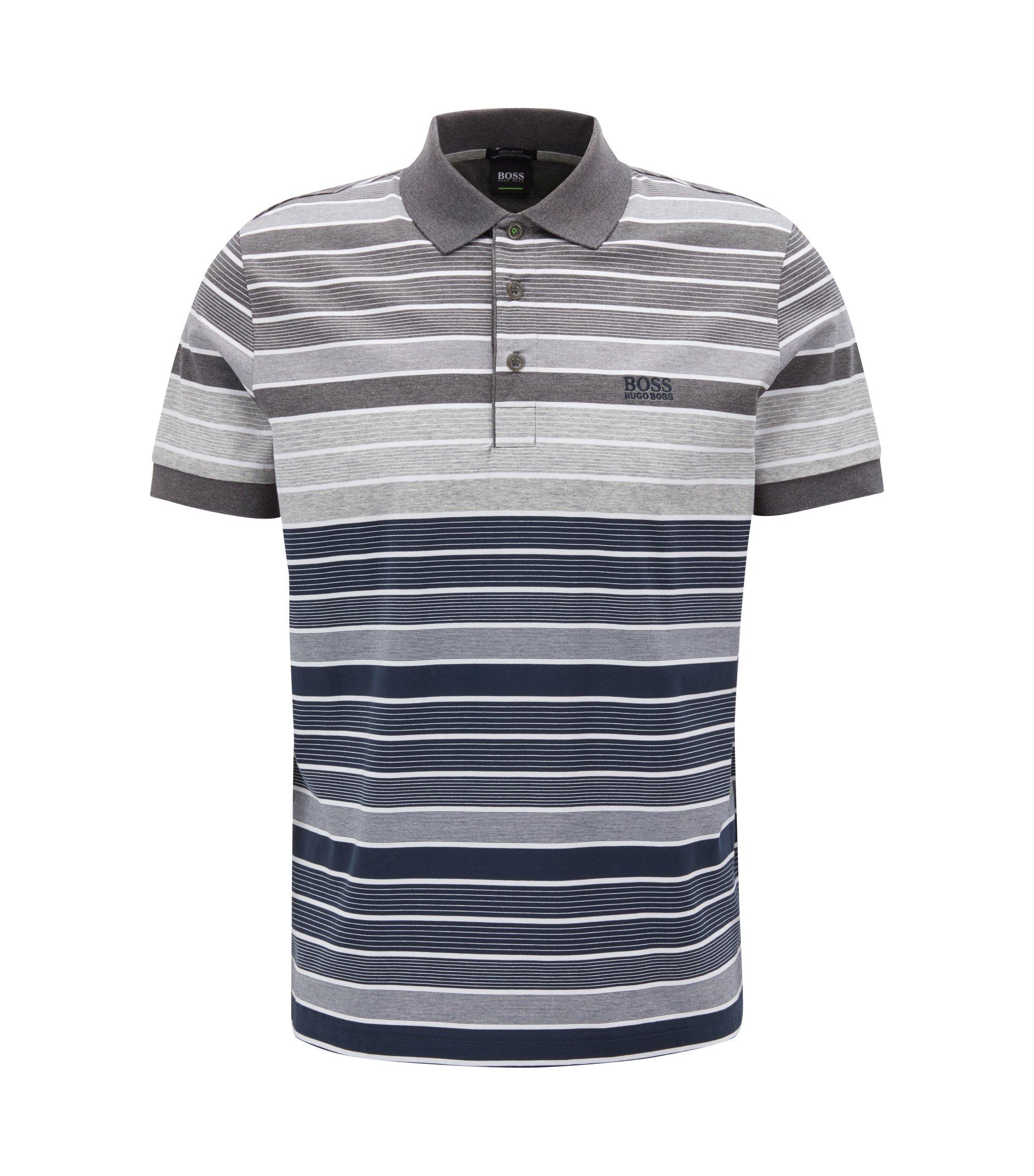 Regular-fit striped polo shirt in mercerised cotton, Dark Blue