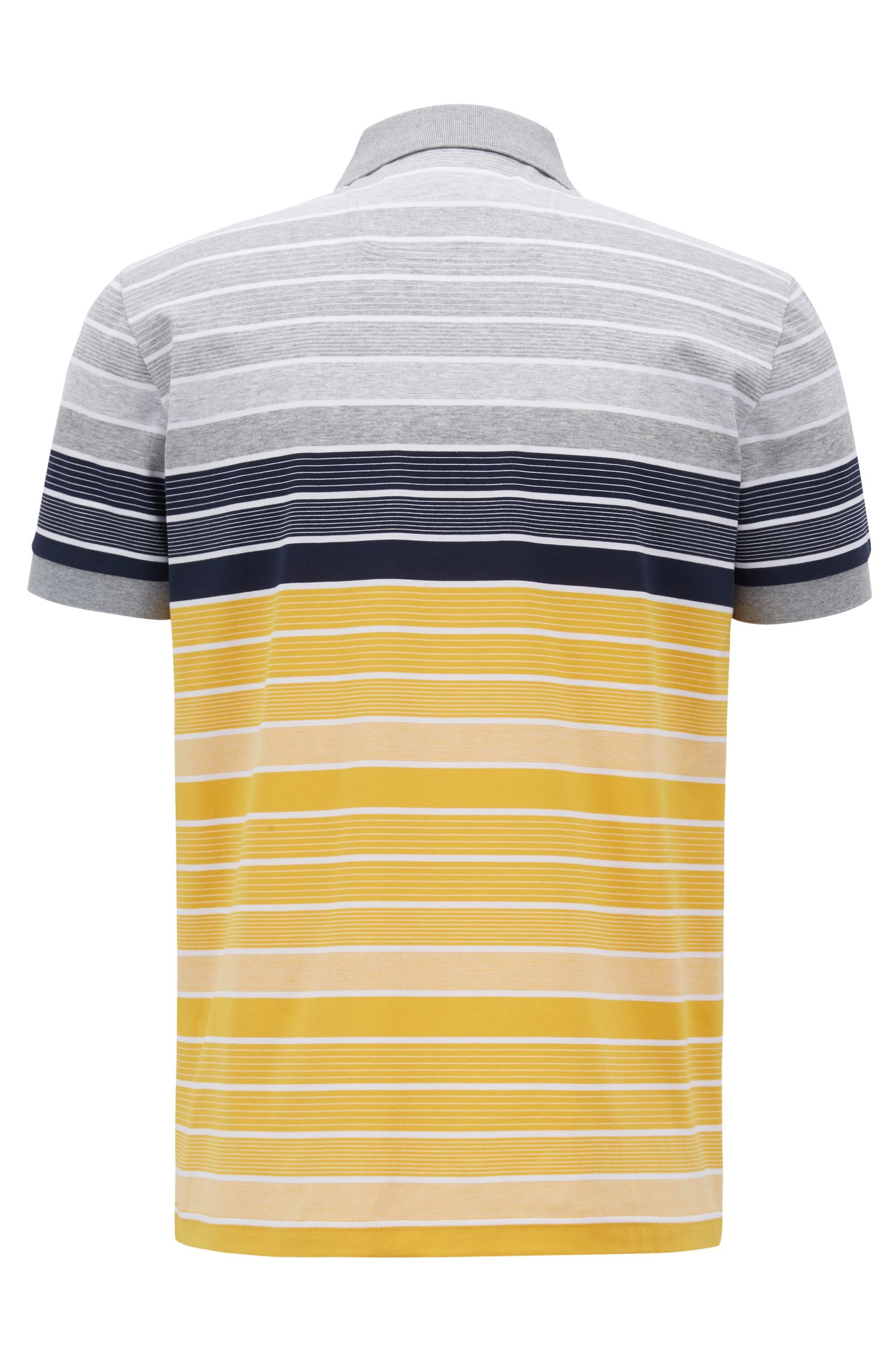 Regular-fit striped polo shirt in mercerised cotton, Yellow