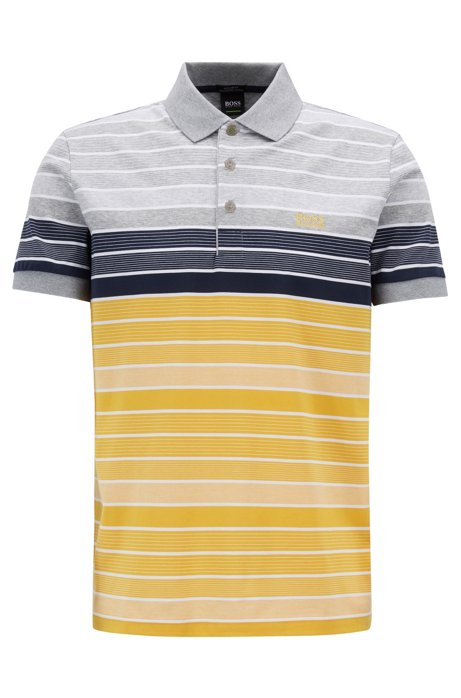 41de31144 BOSS - Regular-fit striped polo shirt in mercerised cotton