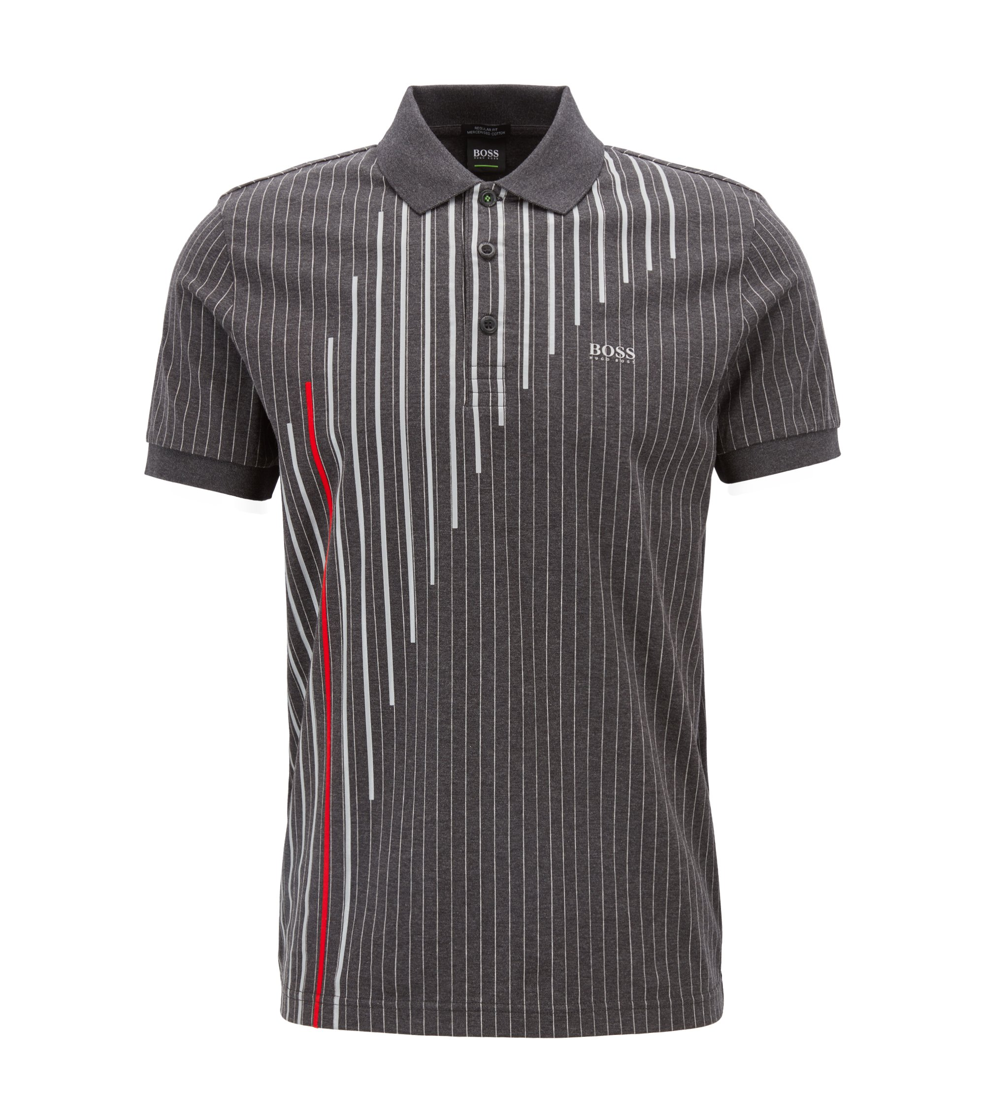 Regular-fit pinstripe polo shirt in mercerised cotton, Anthracite