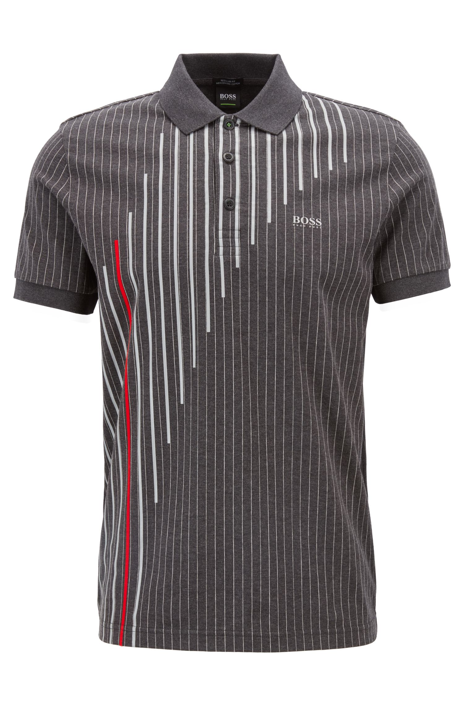 Polo Regular Fit en coton mercerisé à rayures tennis, Anthracite