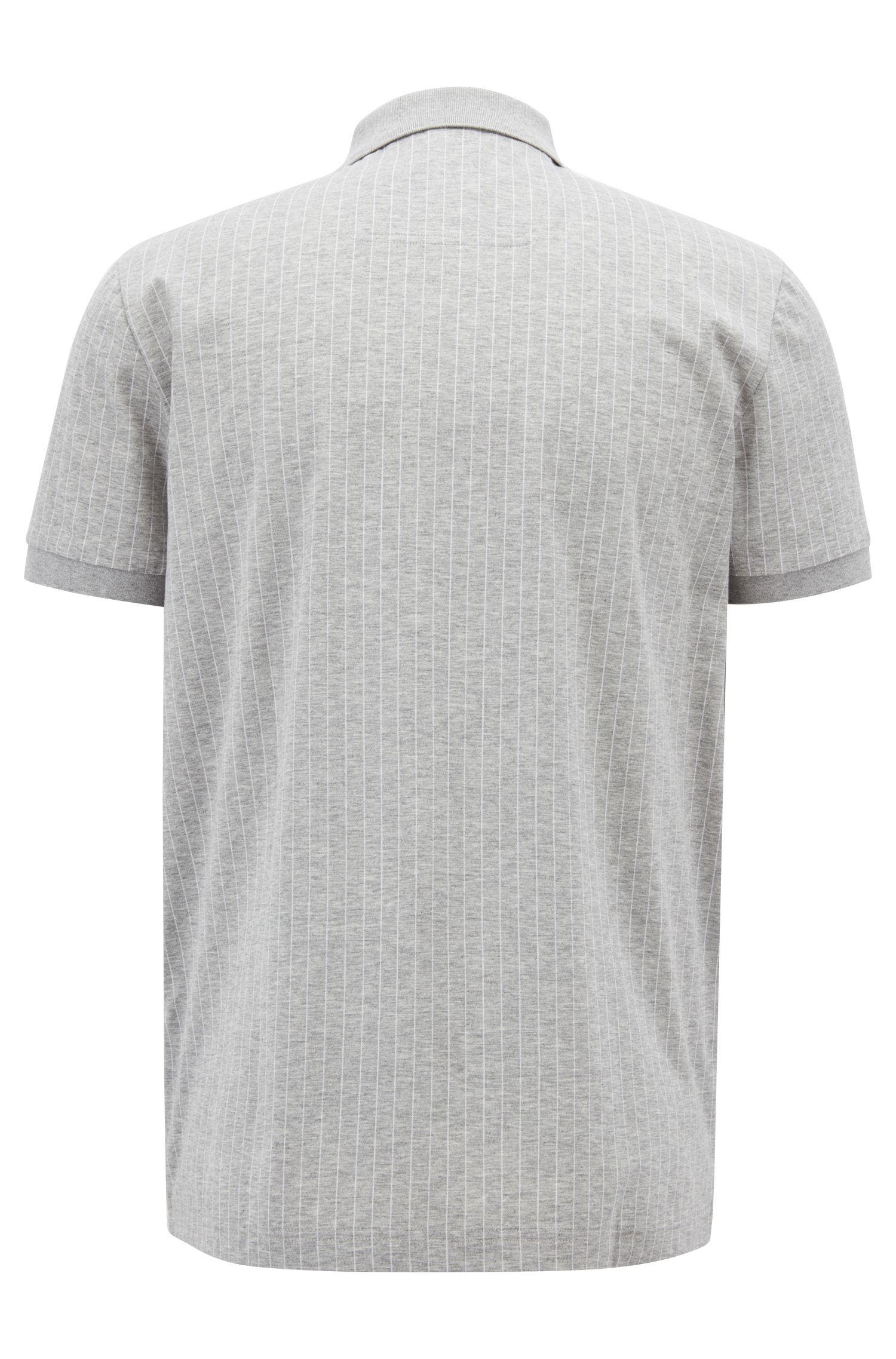 Polo Regular Fit en coton mercerisé à rayures tennis, Gris chiné